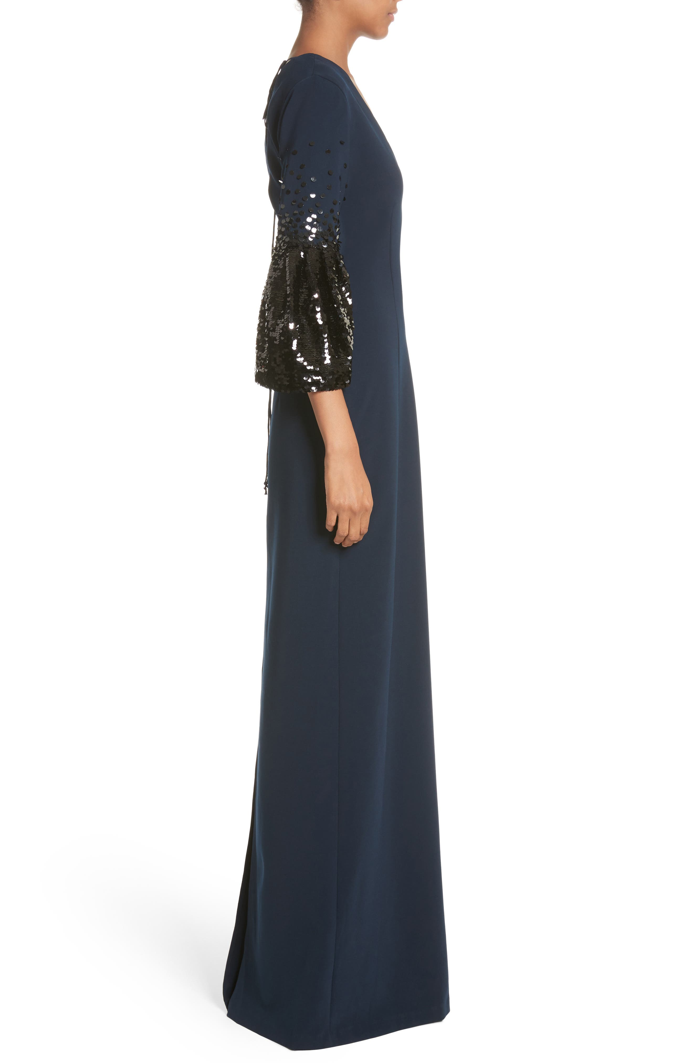 Noir Tower Embellished Sleeve Gown,                             Alternate thumbnail 3, color,                             410