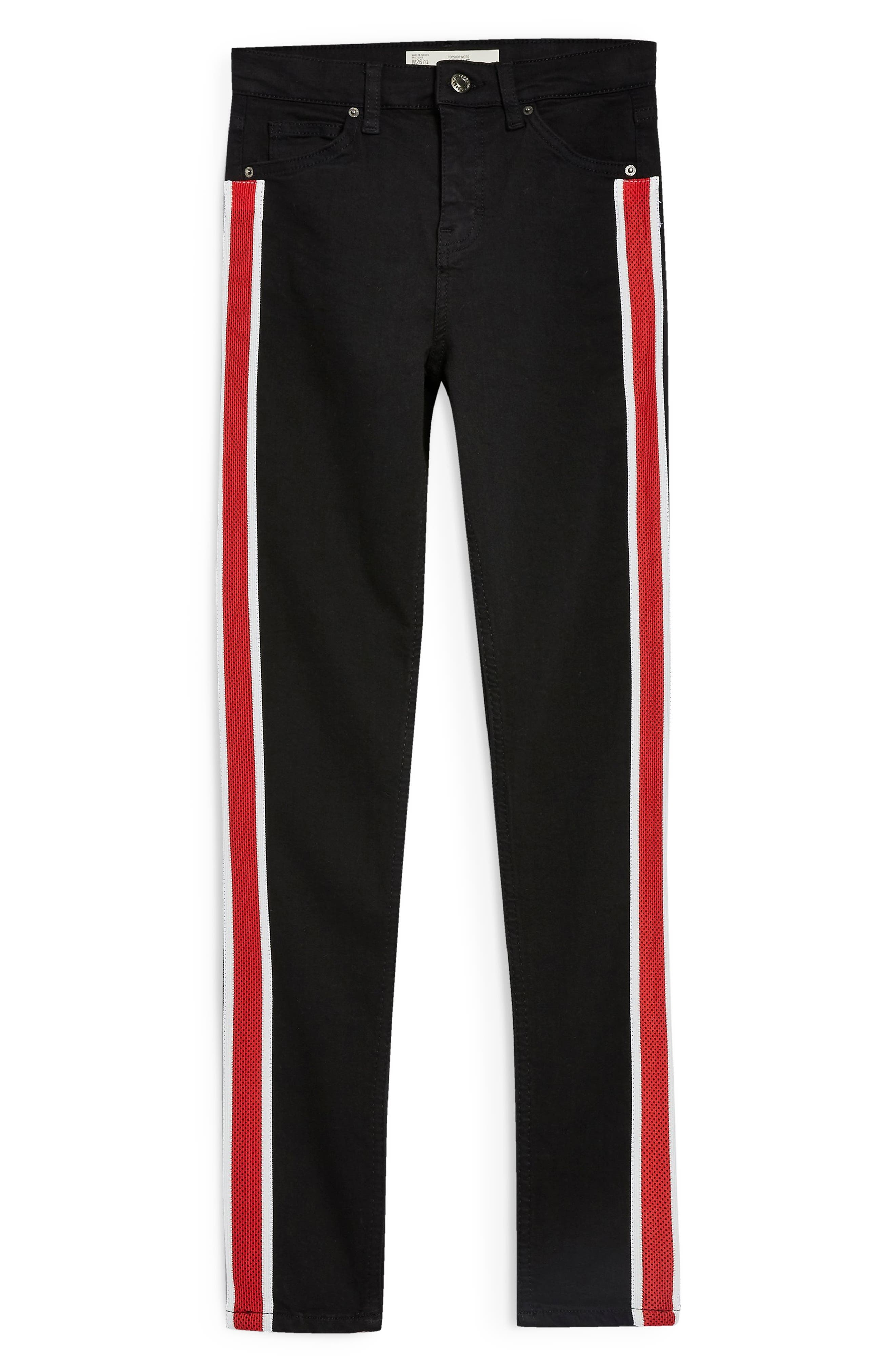 Jamie Airtex Stripe Moto Jeans,                             Alternate thumbnail 3, color,                             BLACK MULTI