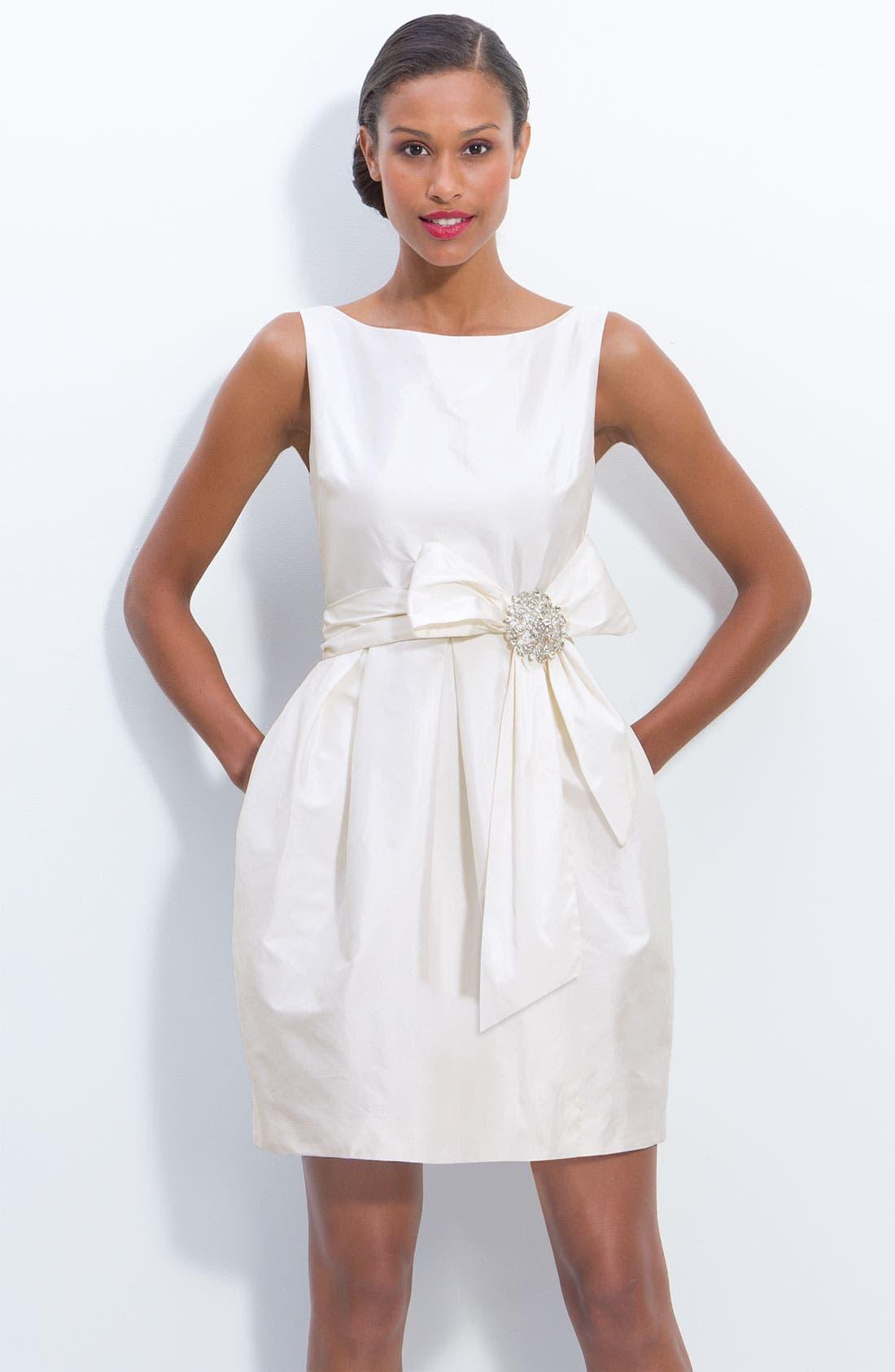 Jeweled Sleeveless Satin Tulip Dress,                             Main thumbnail 1, color,                             900