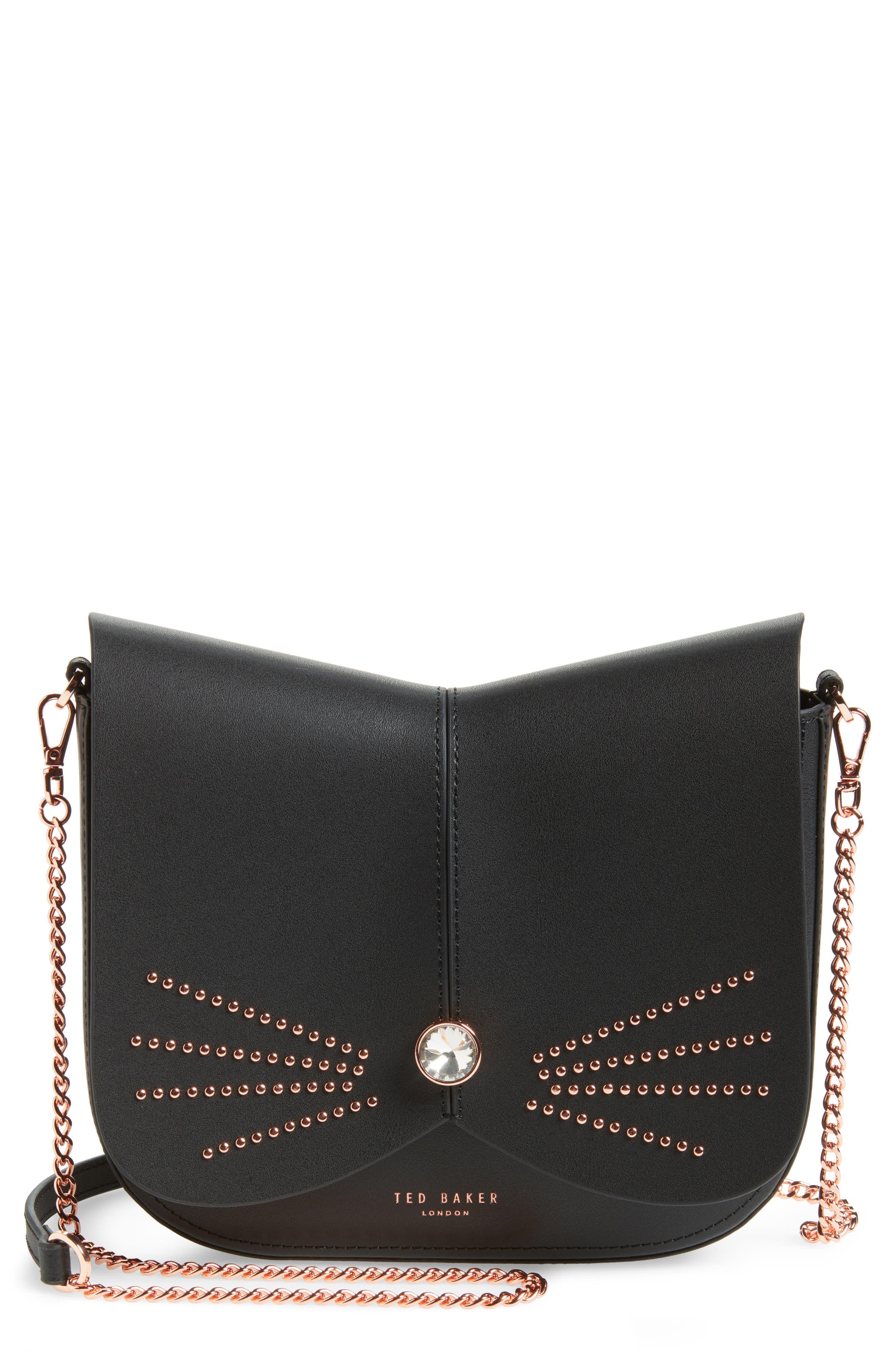 Chriiss Cat Stud Leather Crossbody Bag,                             Main thumbnail 1, color,
