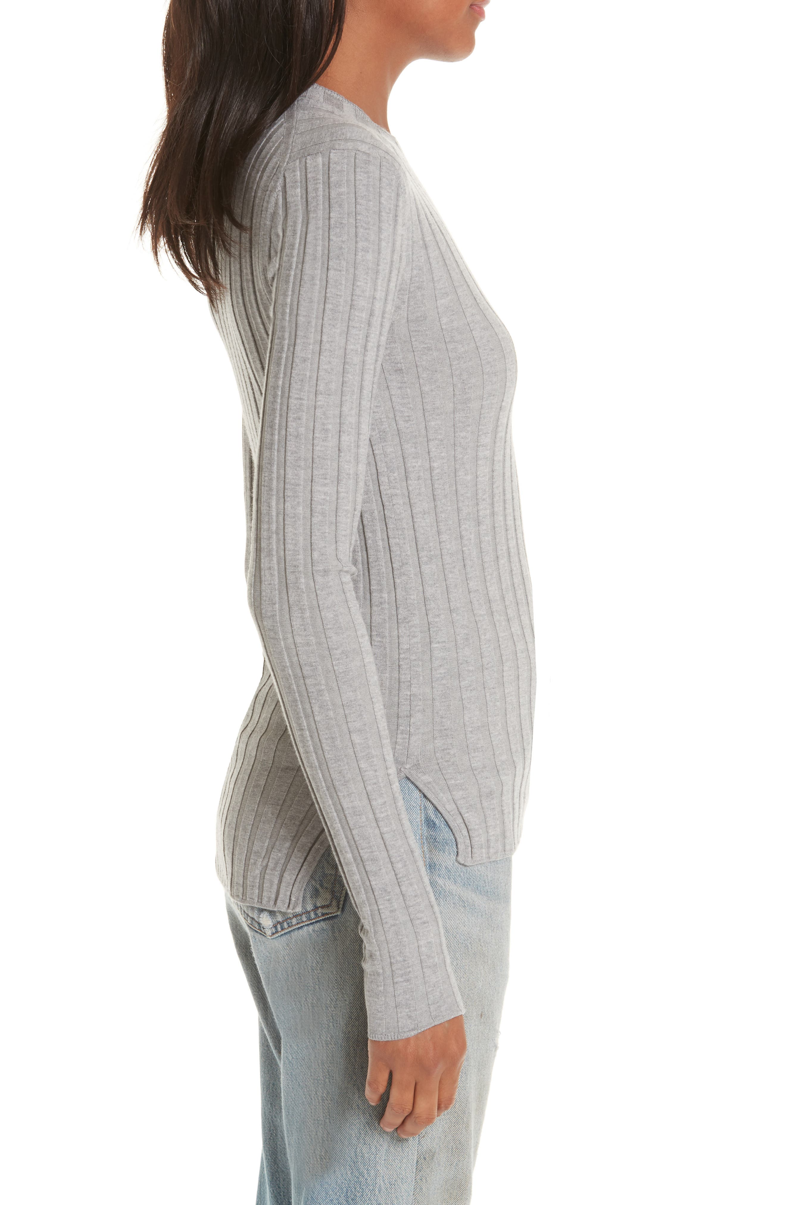 Carina Fitted Crewneck Sweater,                             Alternate thumbnail 3, color,                             SILVER GREY