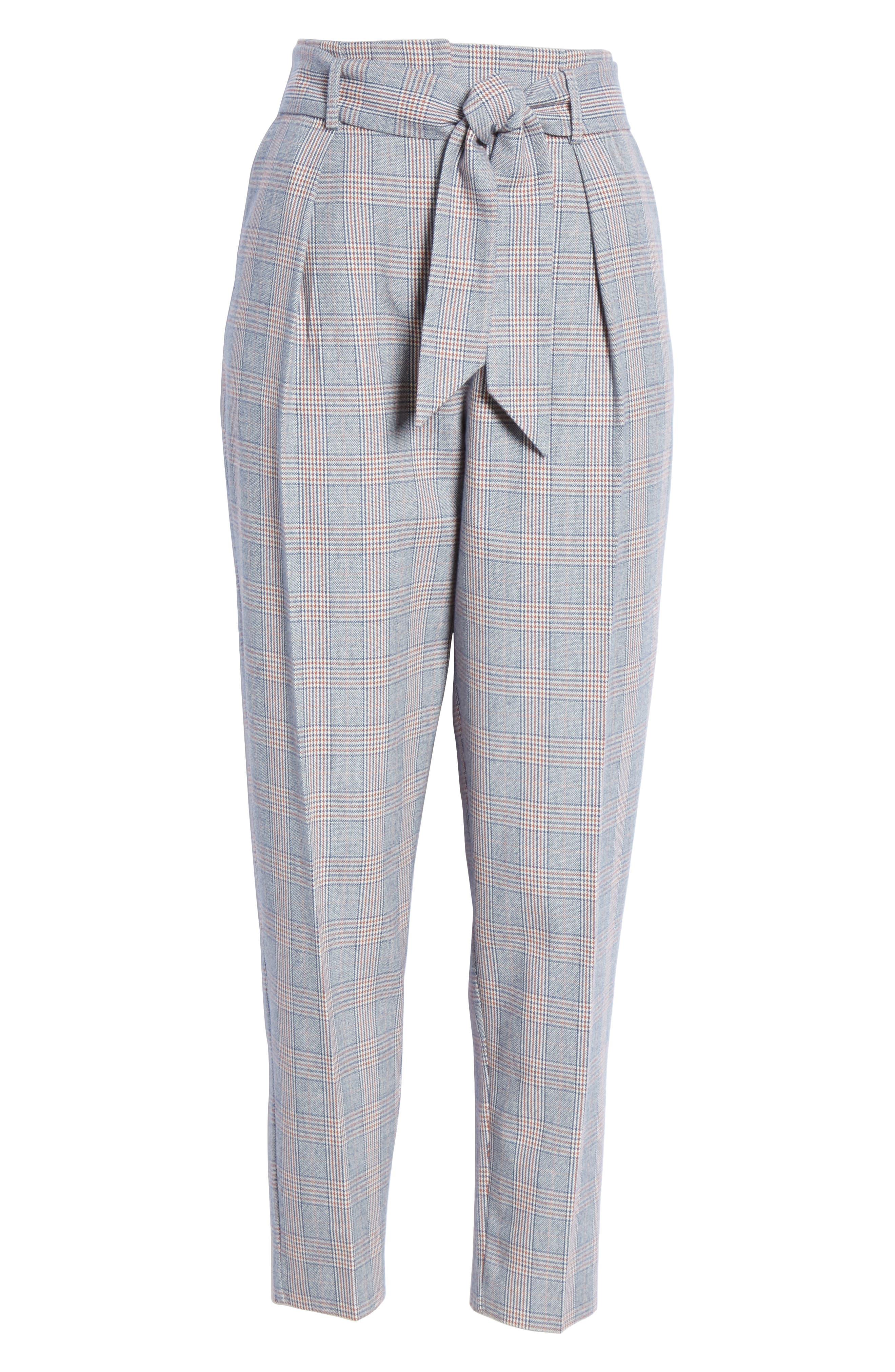 Marcelle Plaid Cotton & Wool Tie Waist Trousers,                             Alternate thumbnail 6, color,                             BLUE MULTI