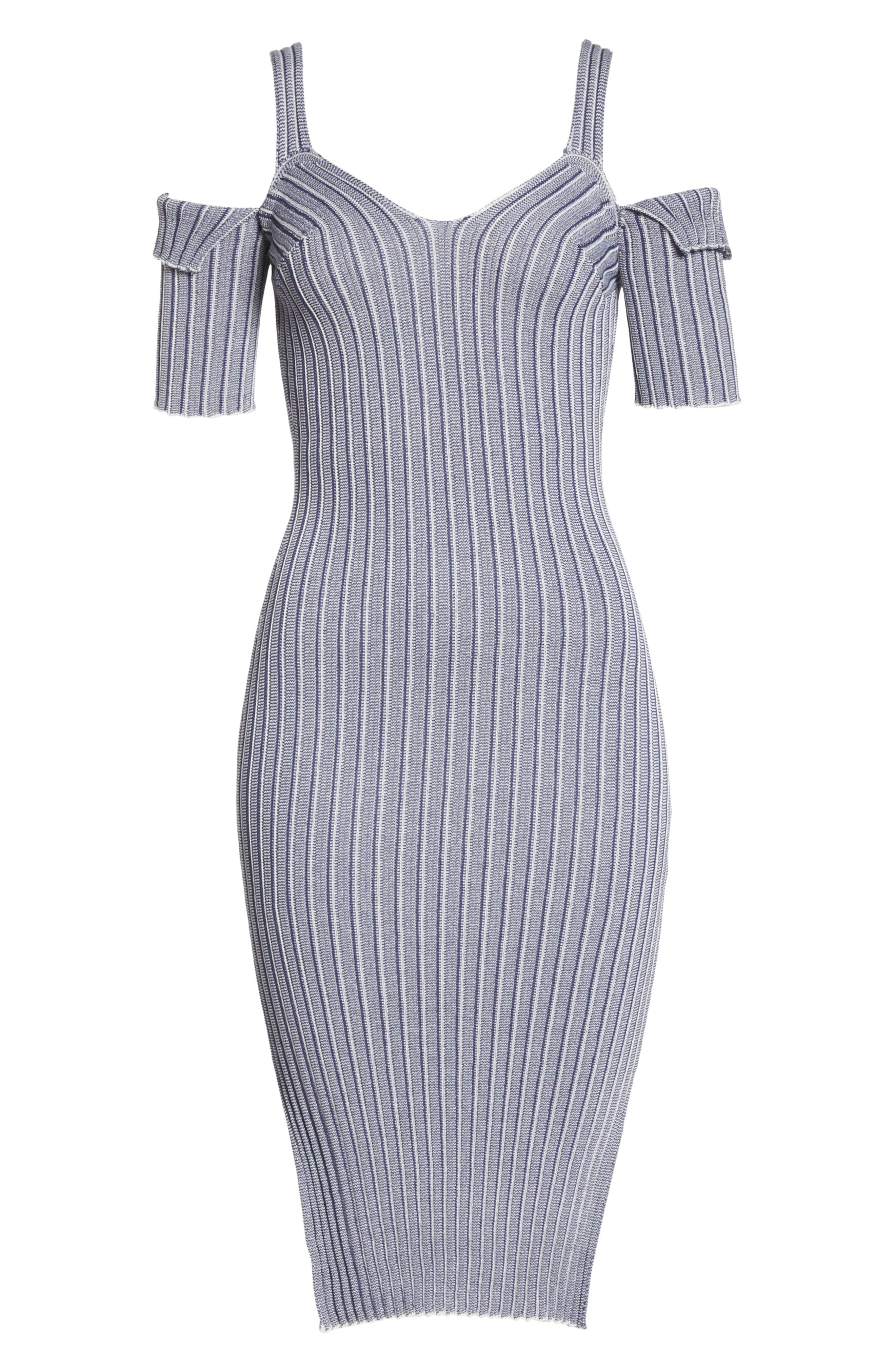 Cold Shoulder Ribbed Knit Body-Con Dress,                             Alternate thumbnail 7, color,                             020