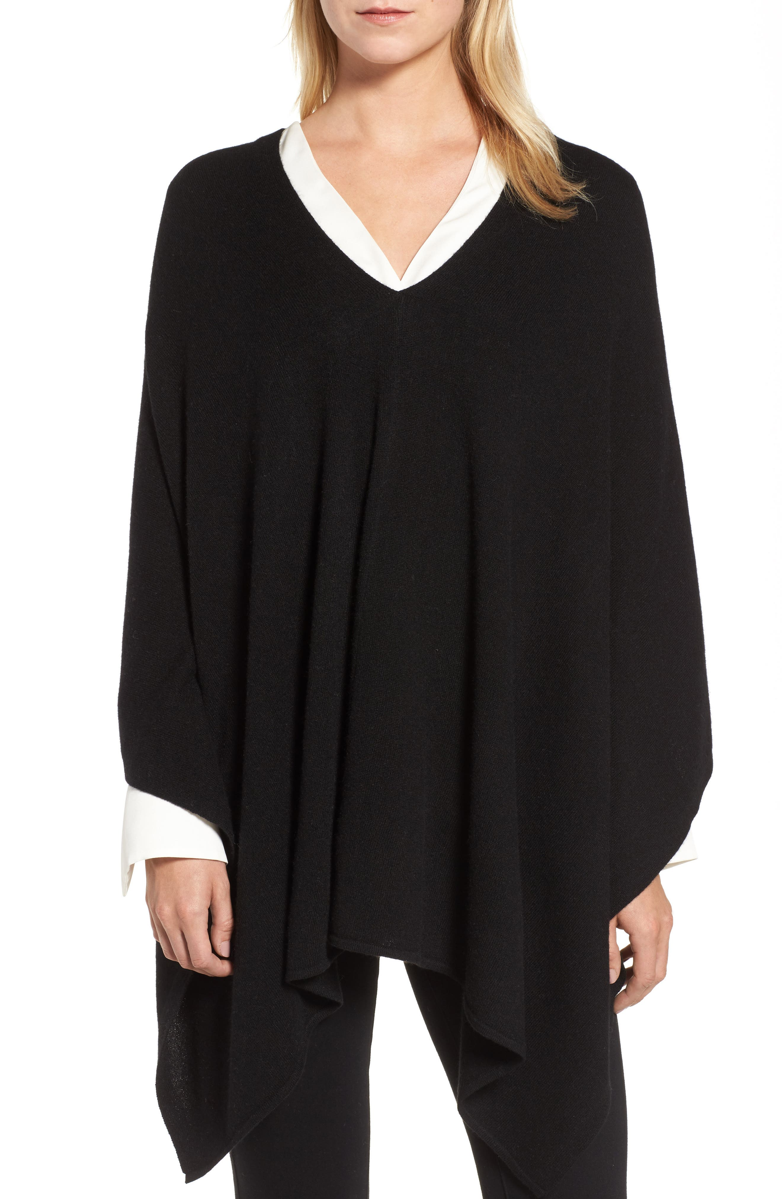 Convertible Cashmere Poncho,                             Alternate thumbnail 4, color,                             BLACK