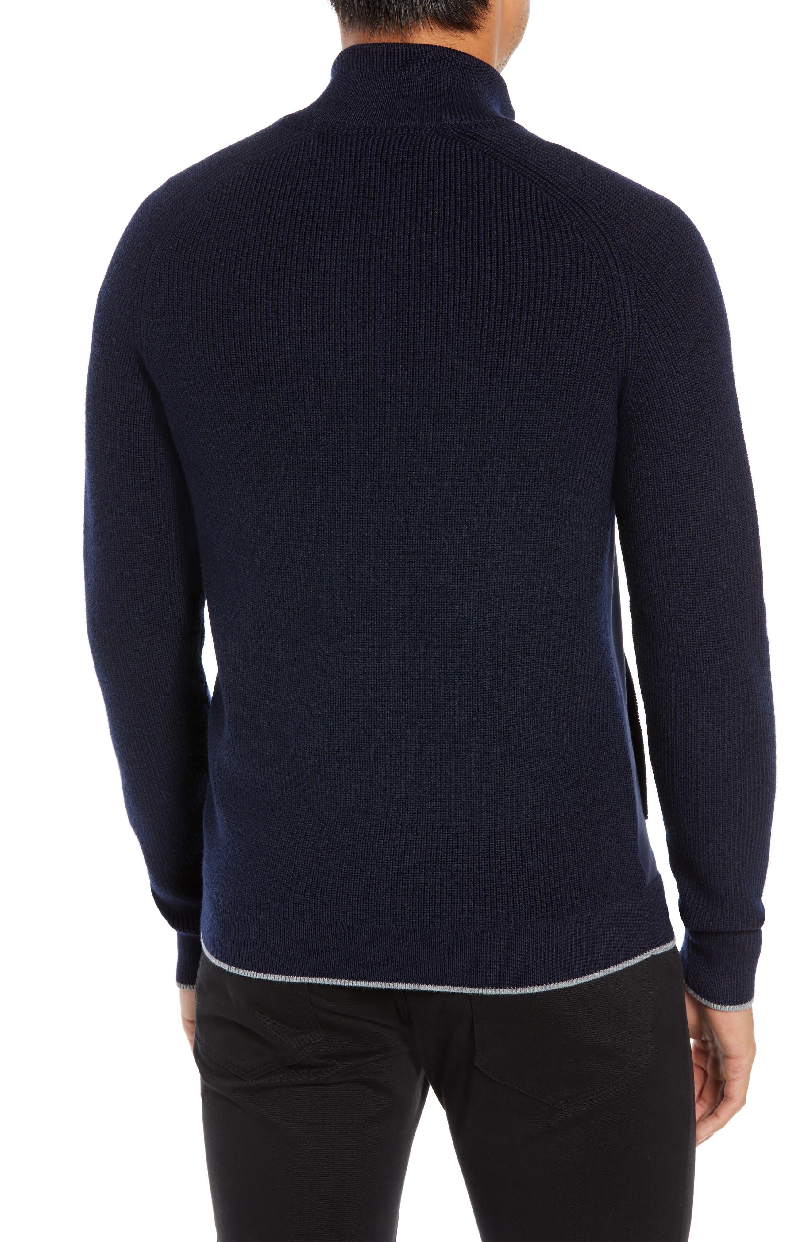 TED BAKER LONDON,                             Patrik Slim Fit Wool Zip Sweater,                             Alternate thumbnail 2, color,                             NAVY