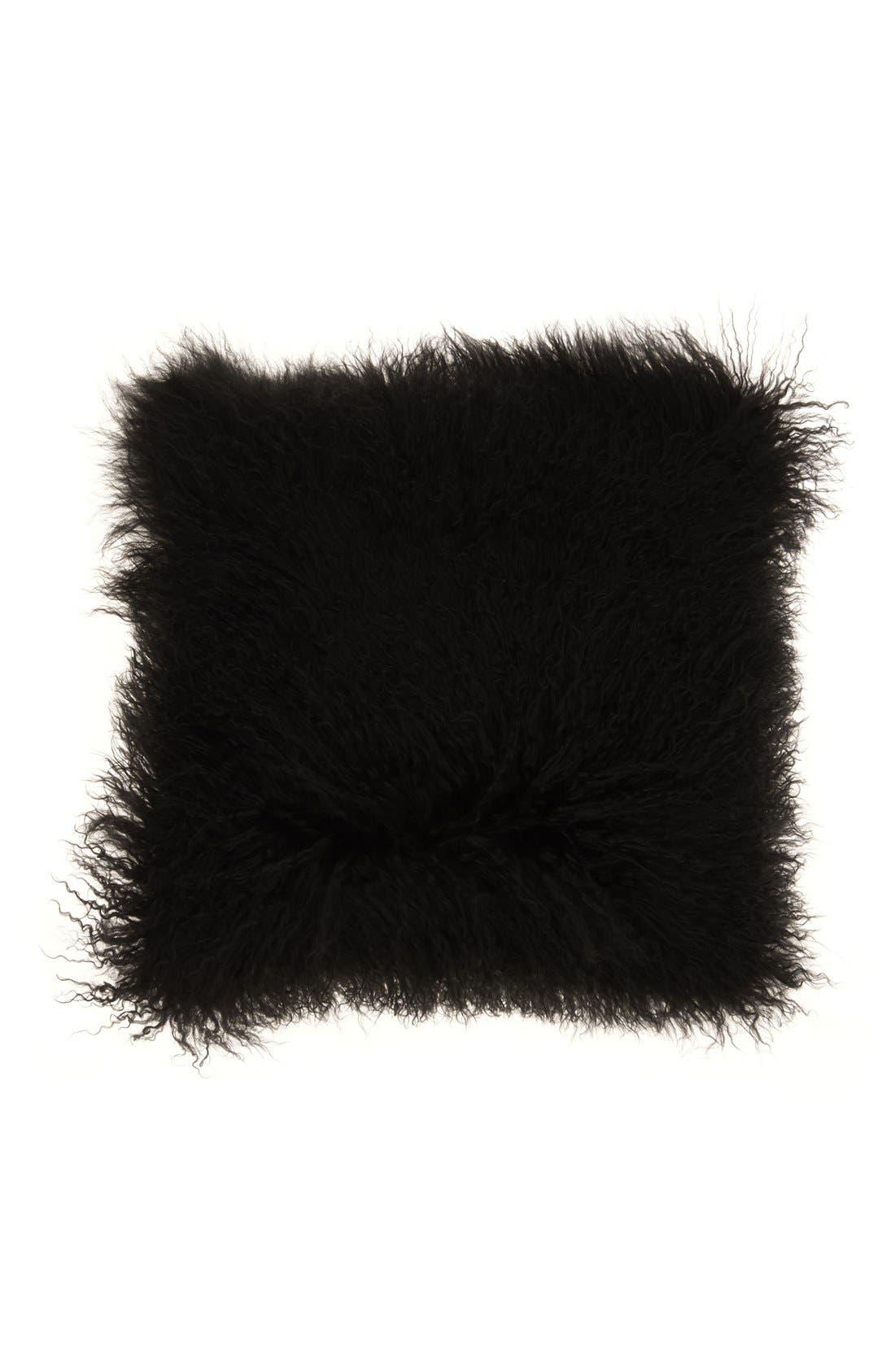 Genuine Tibetan Wool Shearling Pillow,                         Main,                         color, 001