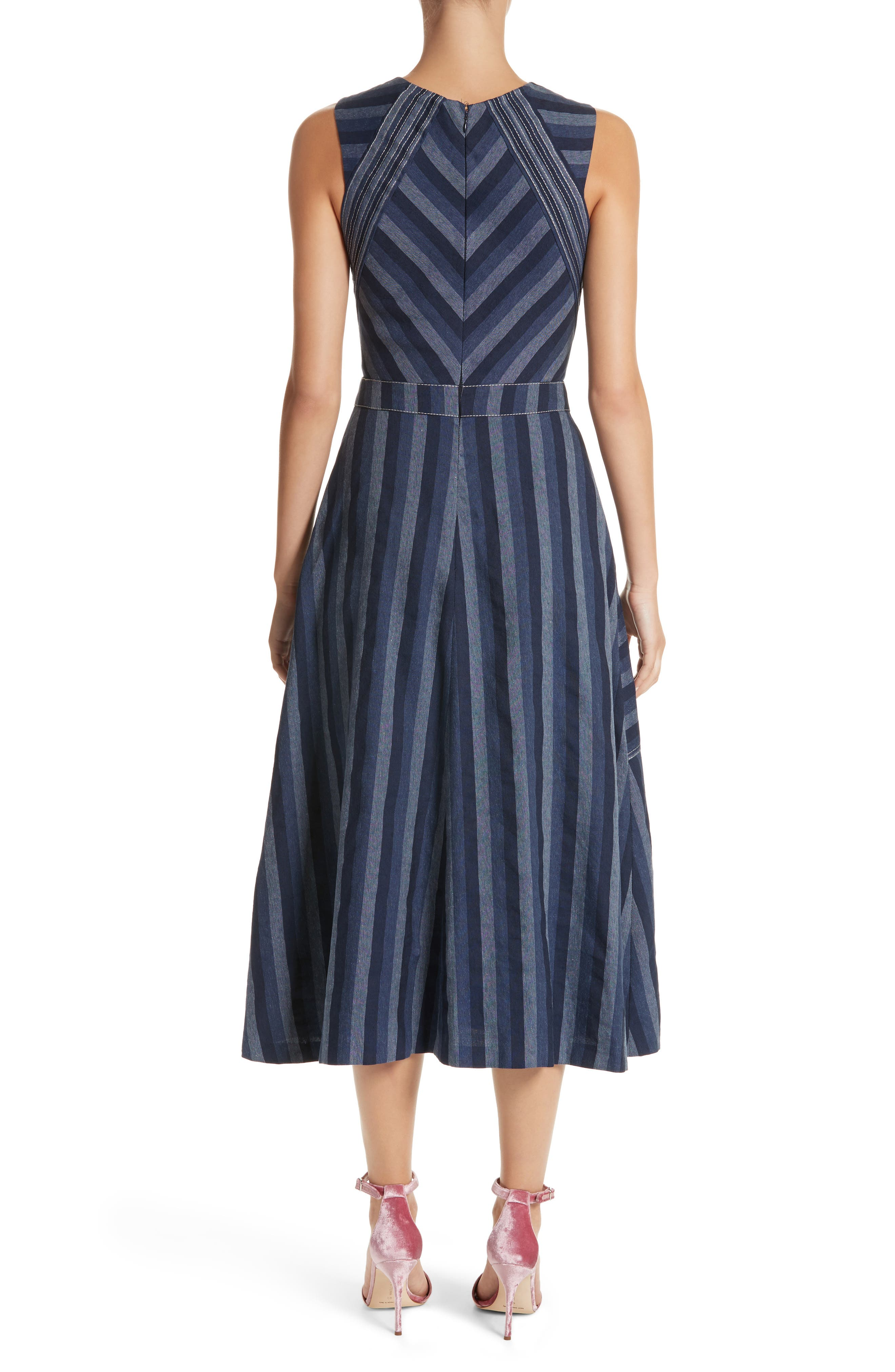 Stripe Denim Midi Dress,                             Alternate thumbnail 2, color,                             410