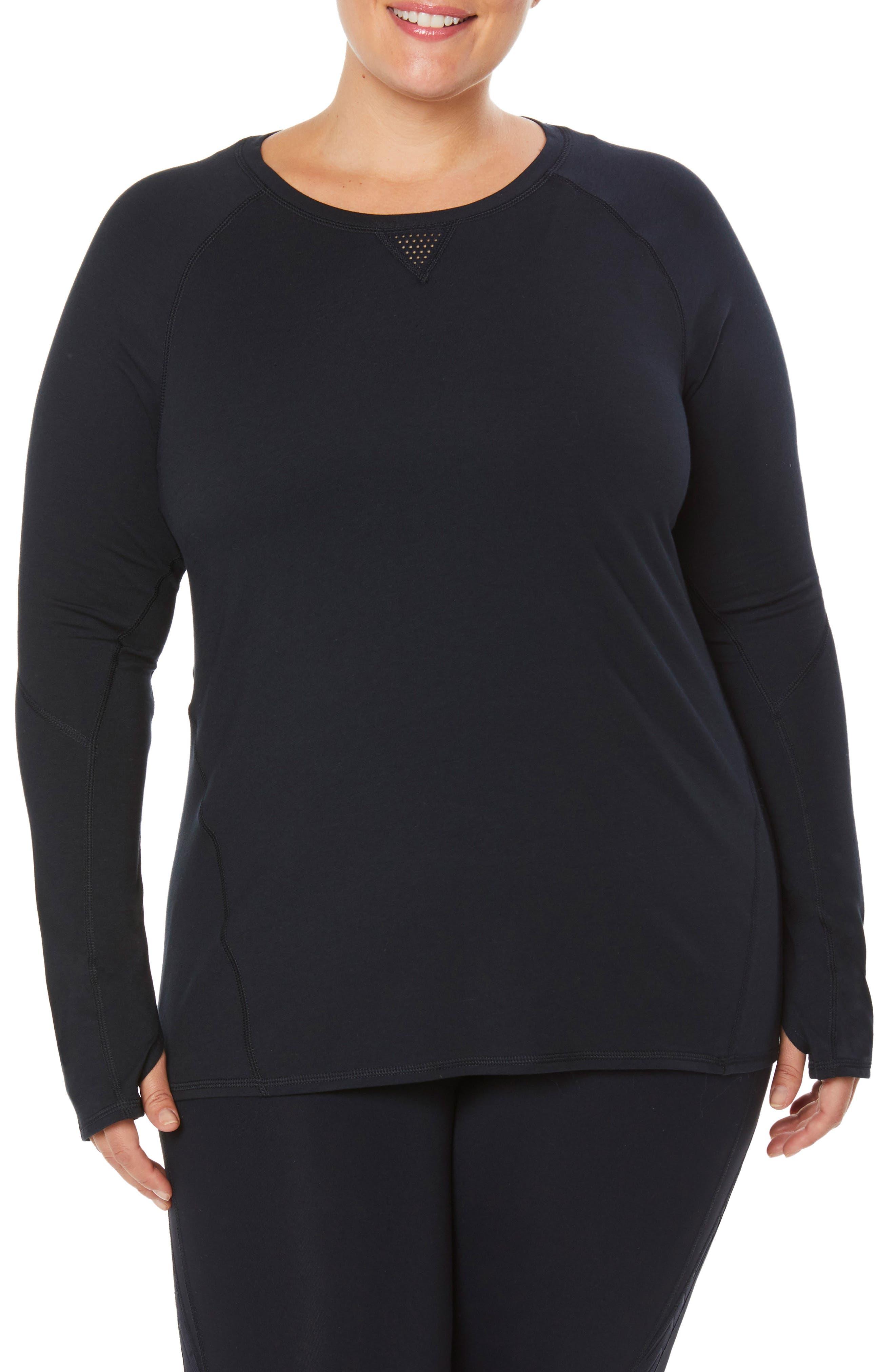 Plus Size Shape Activewear Movement Tee, Black