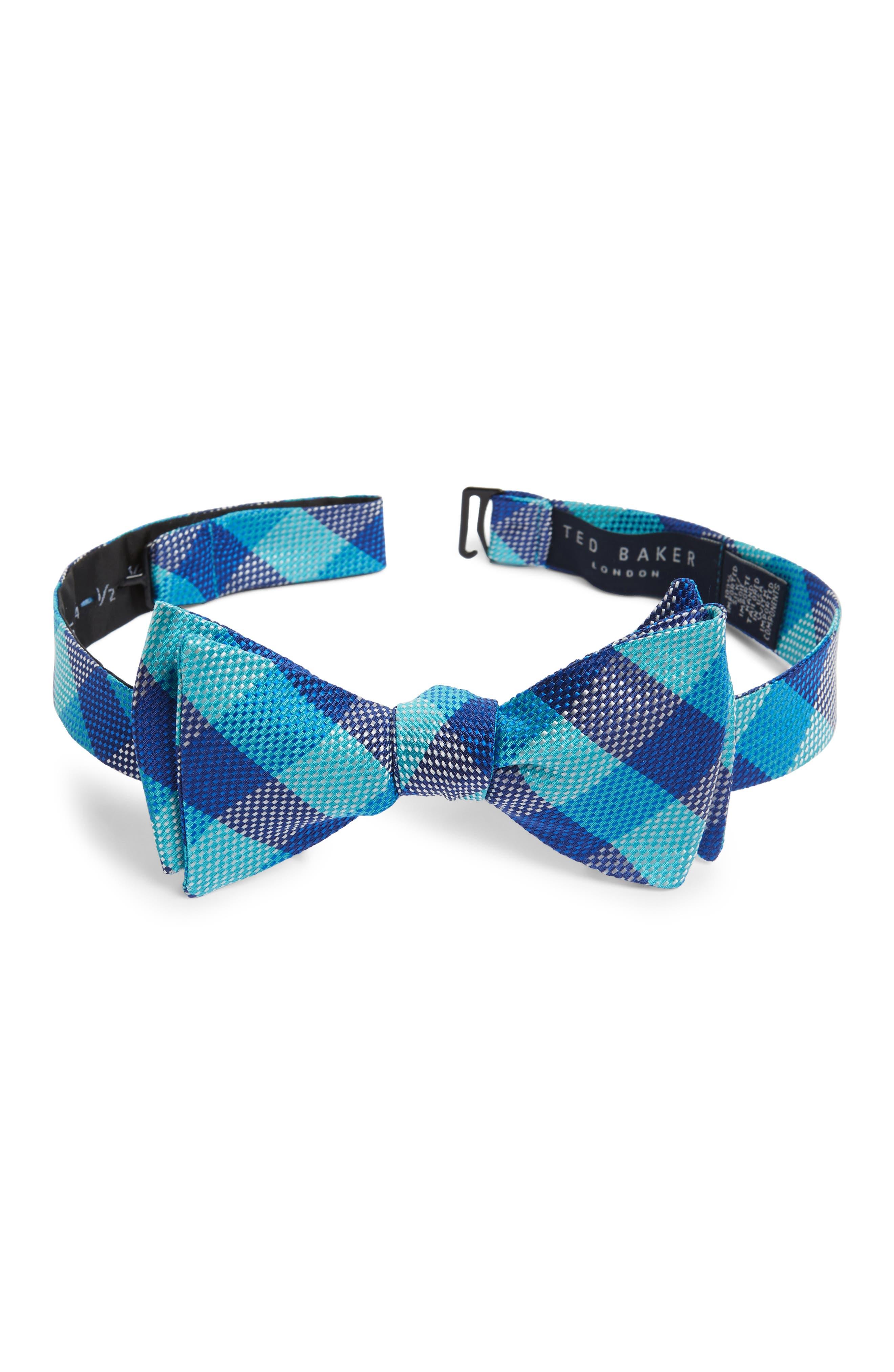 Derby Check Silk Bow Tie,                         Main,                         color, 322