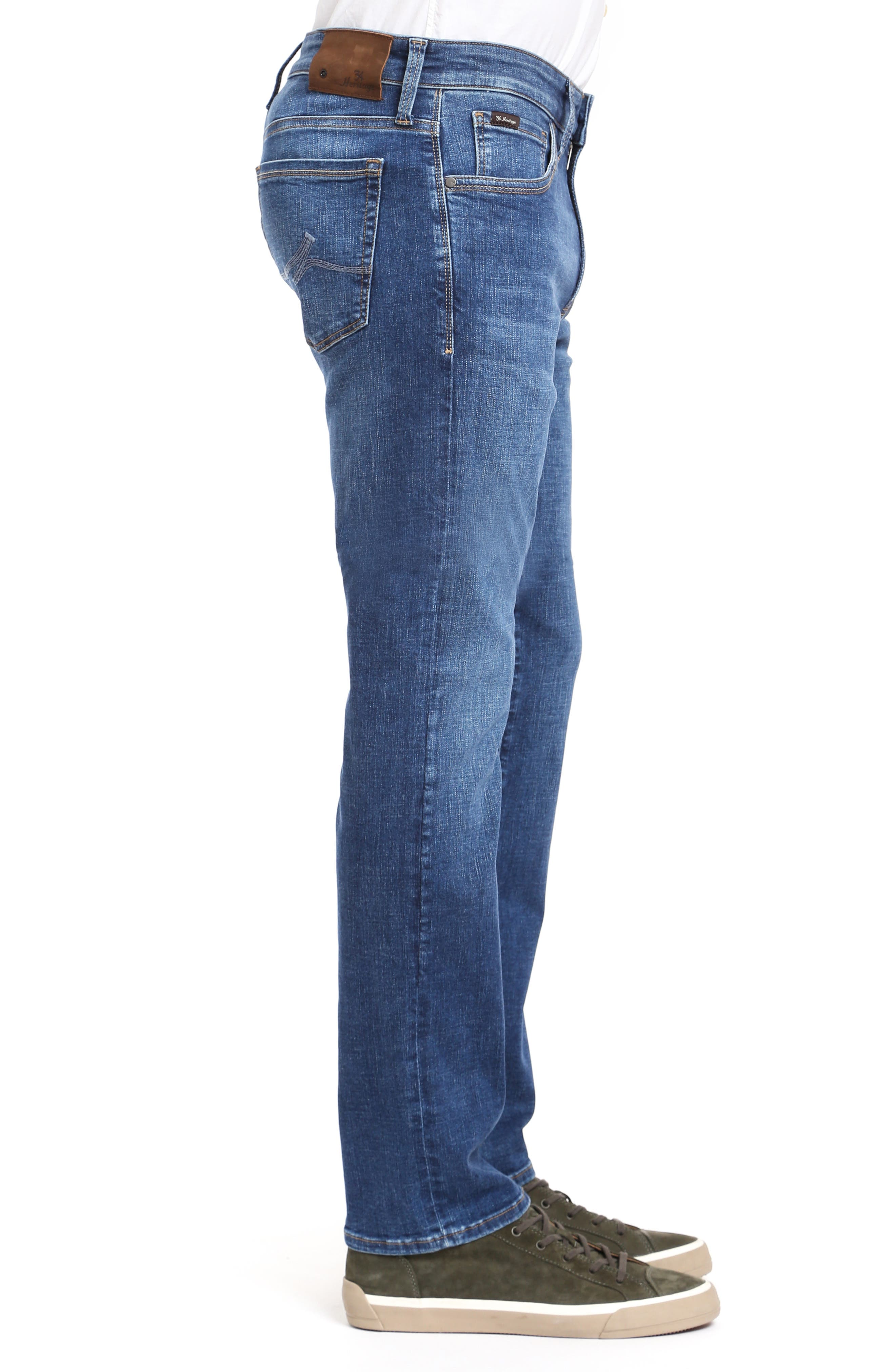 Cool Slim Straight Leg Jeans,                             Alternate thumbnail 3, color,                             MID INDIGO CASHMERE