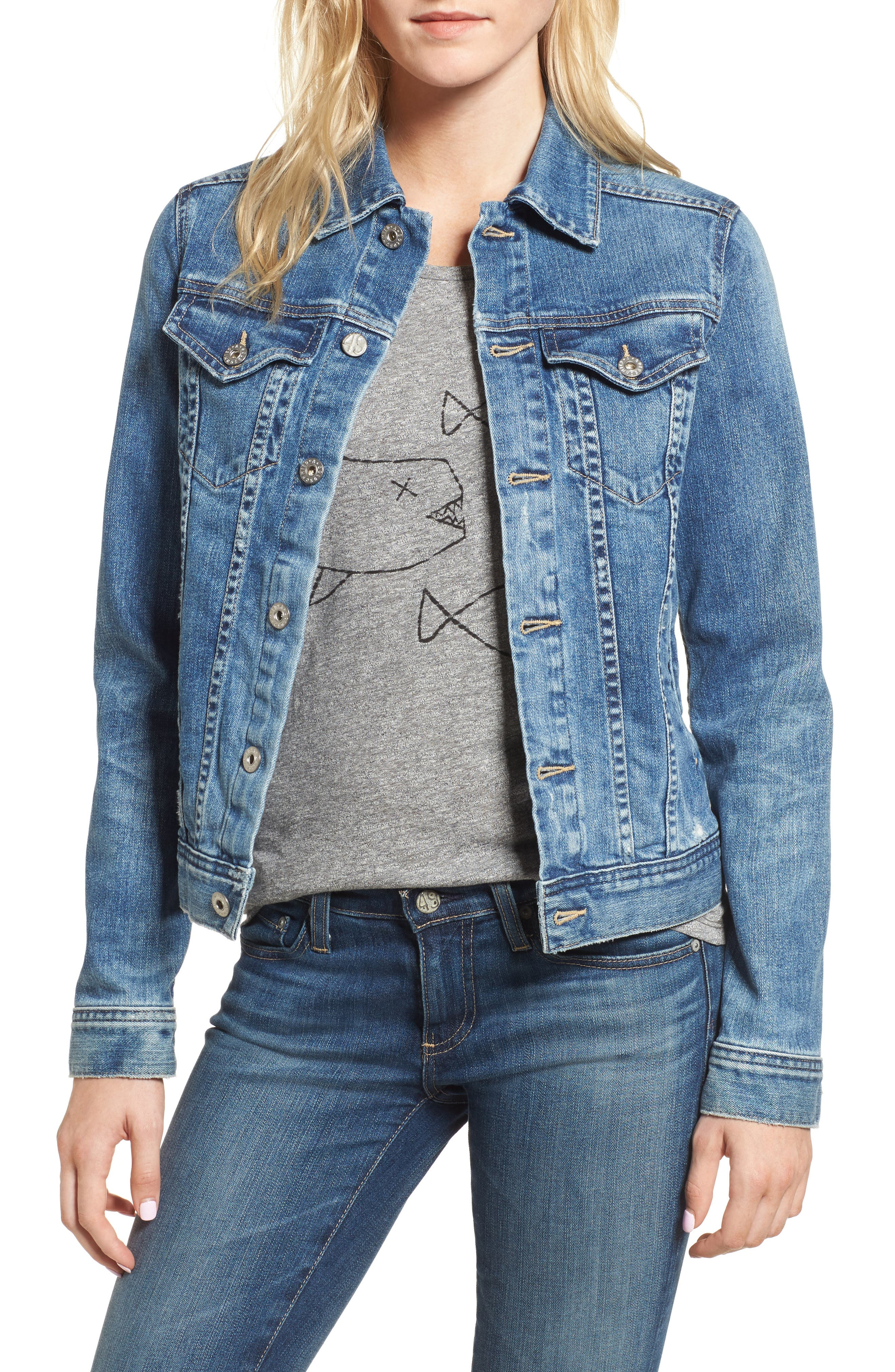'Mya' Denim Jacket,                             Main thumbnail 1, color,                             10 YEARS MAGNETIC BLUE