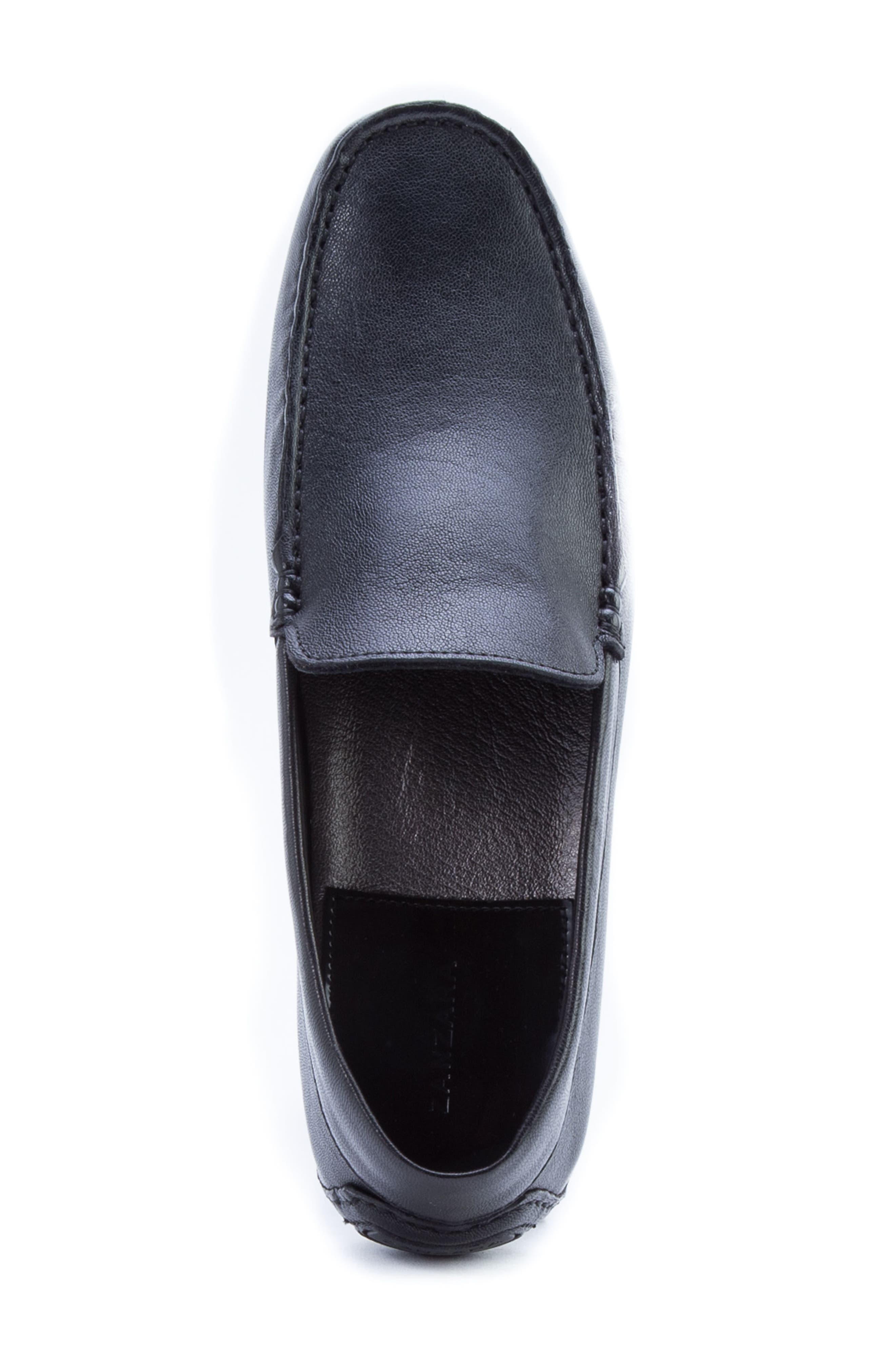 ZANZARA,                             Picasso 3 Moc Toe Driving Loafer,                             Alternate thumbnail 5, color,                             BLACK LEATHER