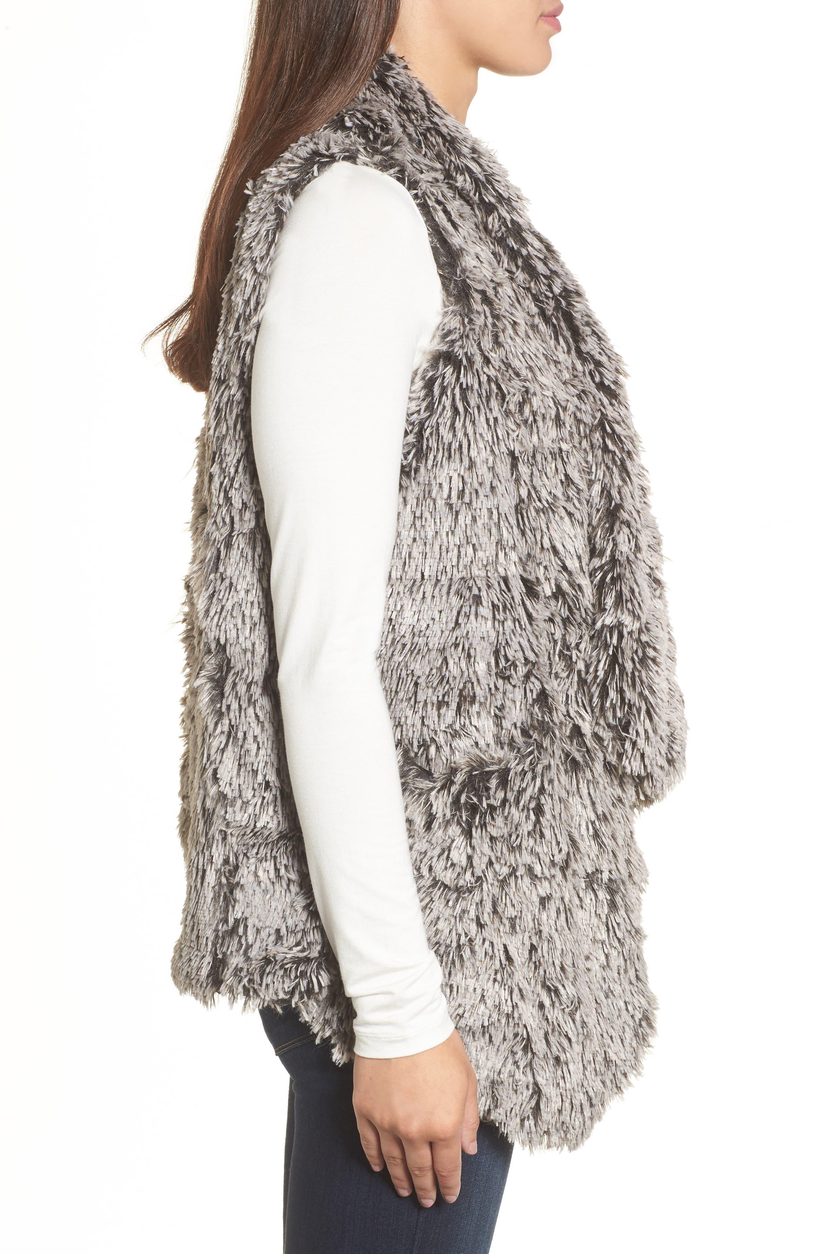 Faux Fur Drape Front Vest,                             Alternate thumbnail 3, color,                             020