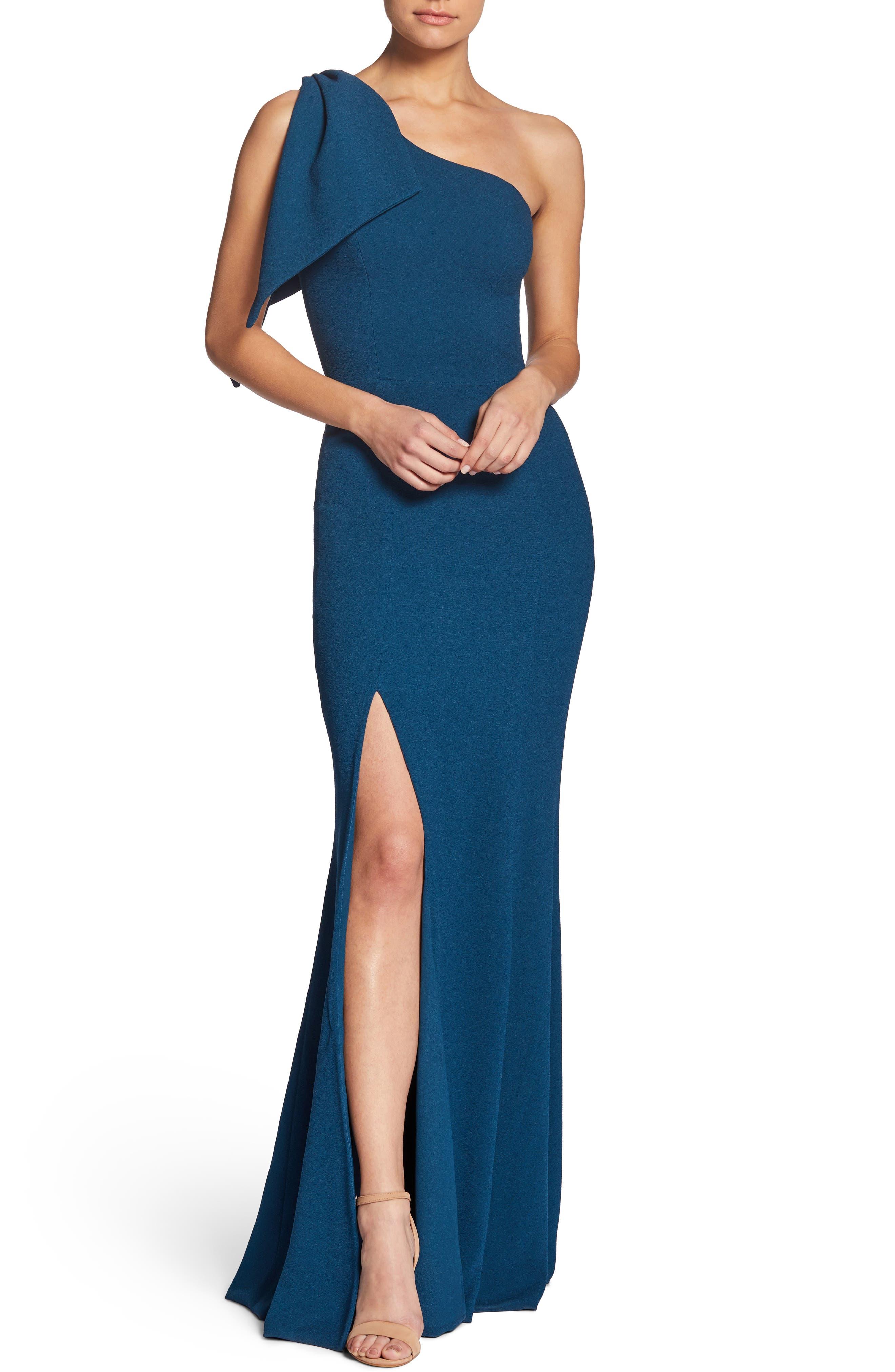 Dress The Population Georgina One-Shoulder Crepe Gown, Blue