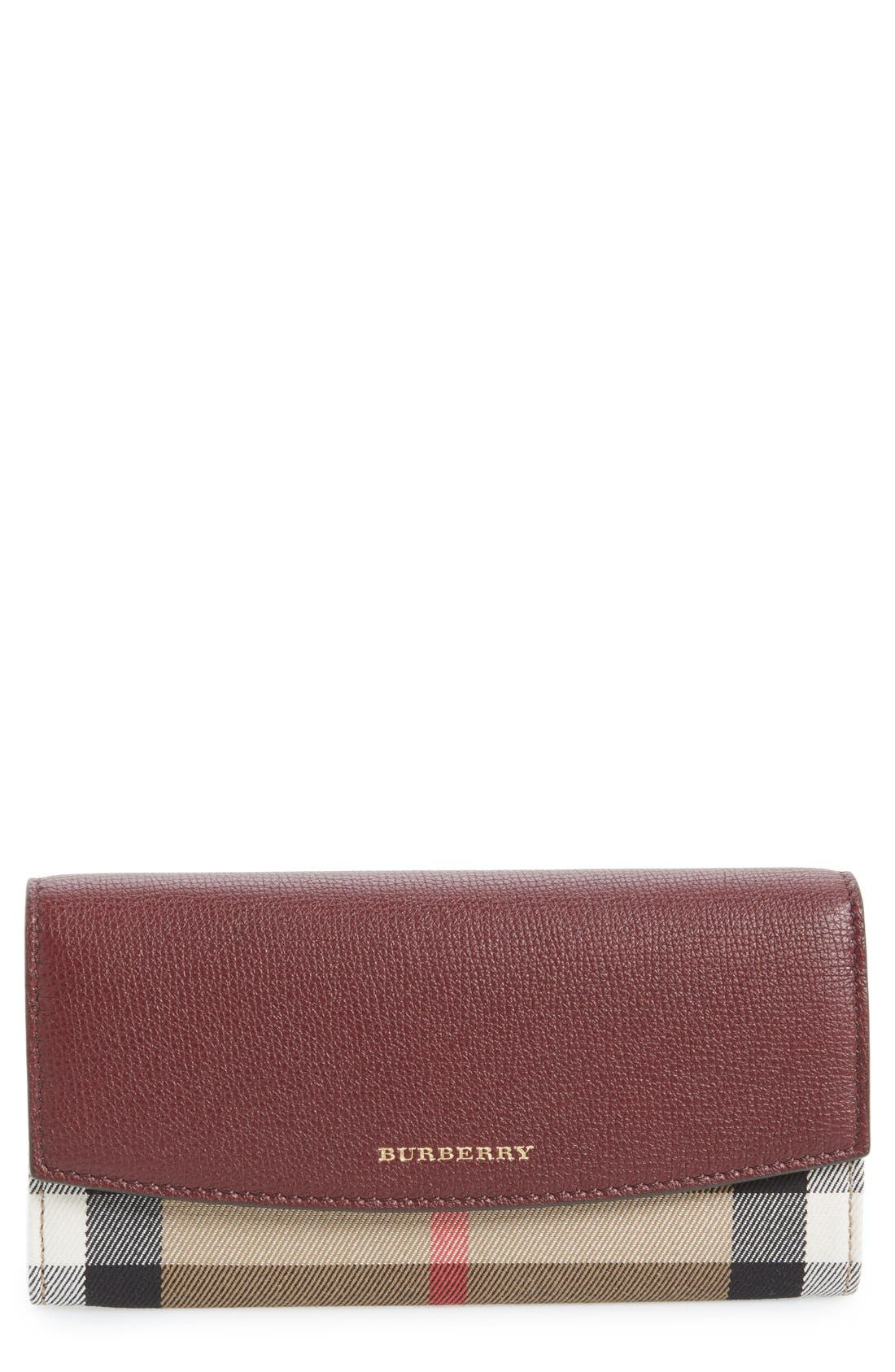 'Porter - Check' Continental Wallet,                             Main thumbnail 1, color,