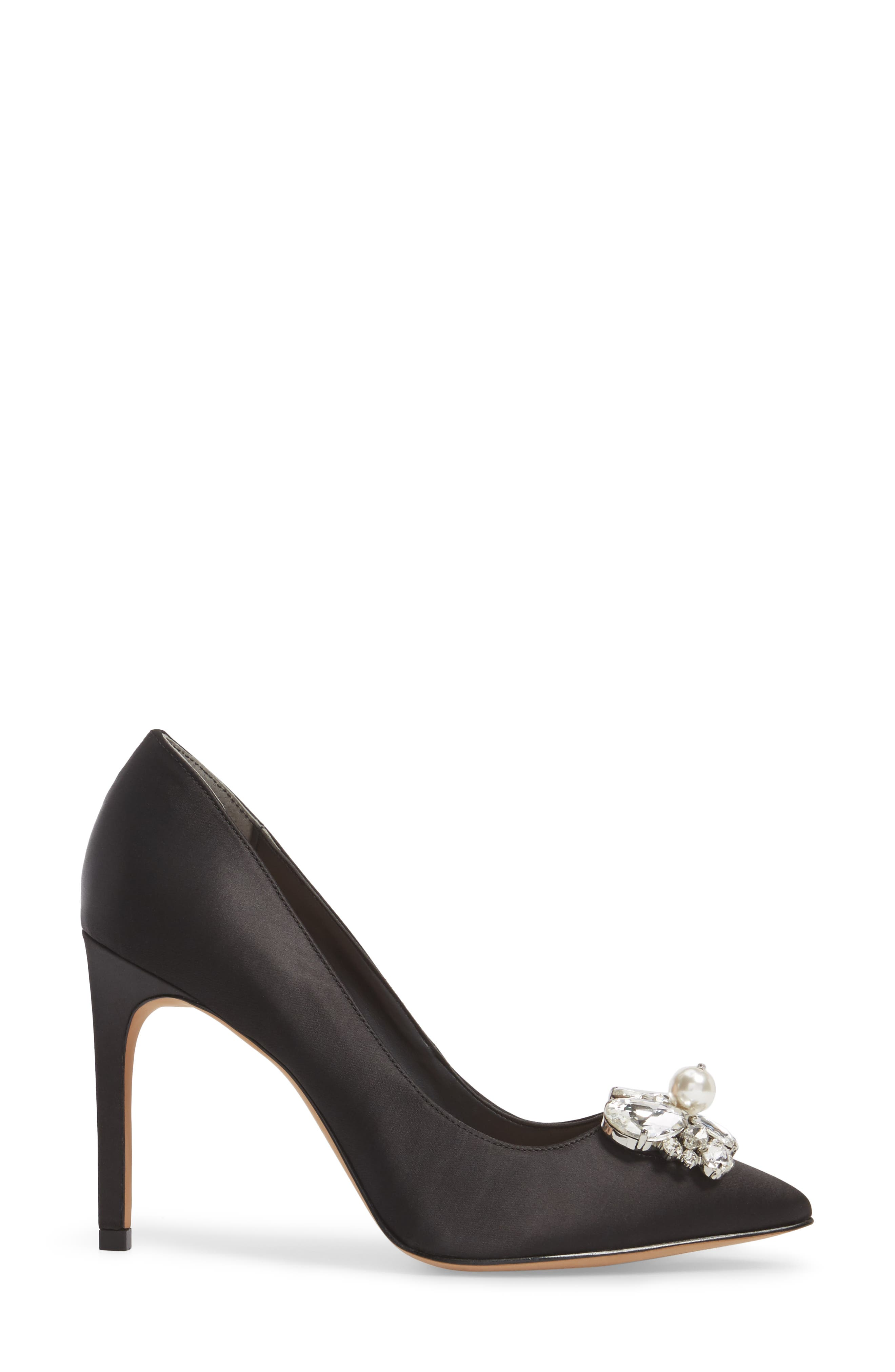 Chiara Embellished Pointy Toe Pump,                             Alternate thumbnail 3, color,                             001