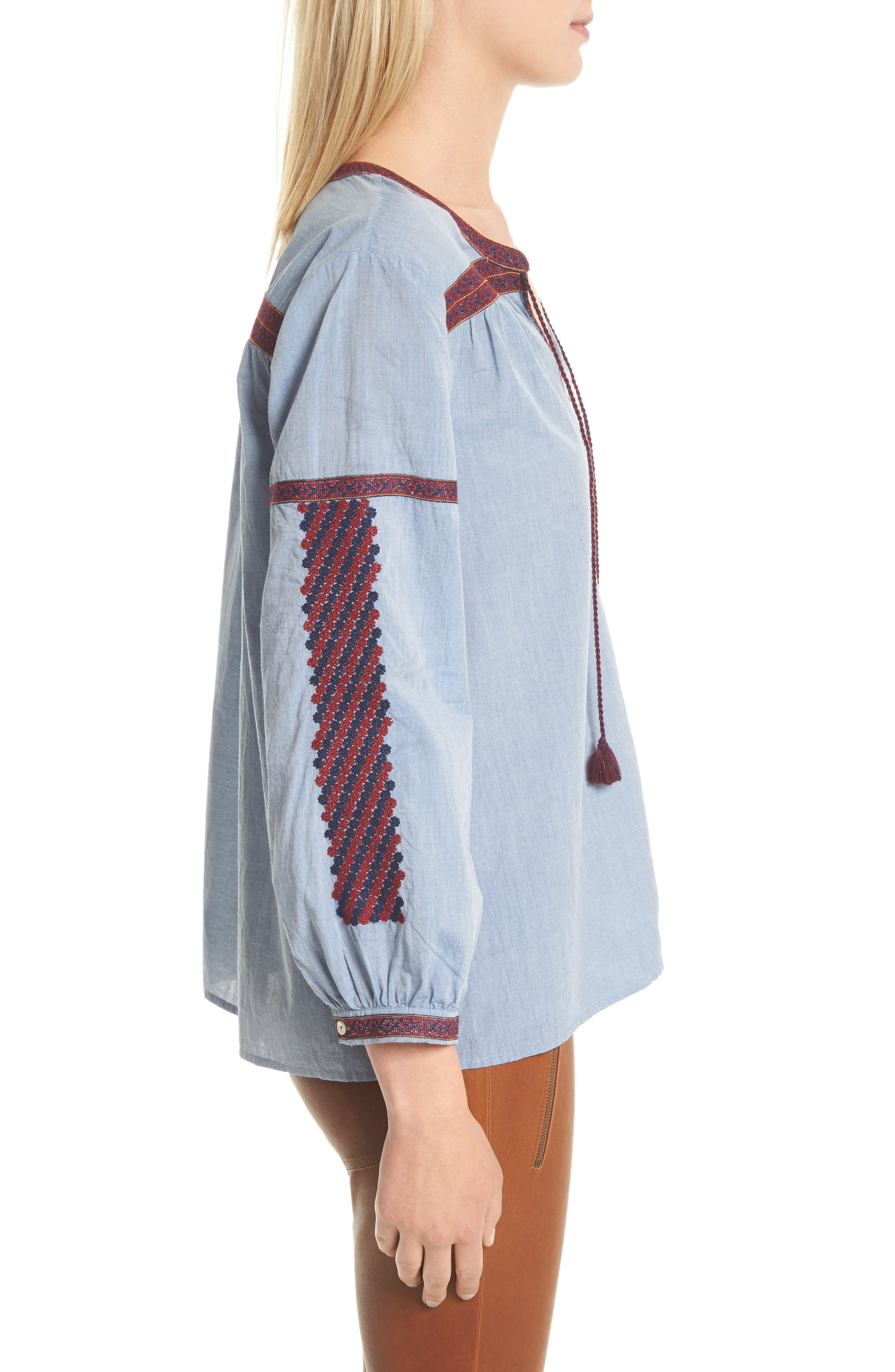 Marlen Embroidered Chambray Top,                             Alternate thumbnail 3, color,                             470