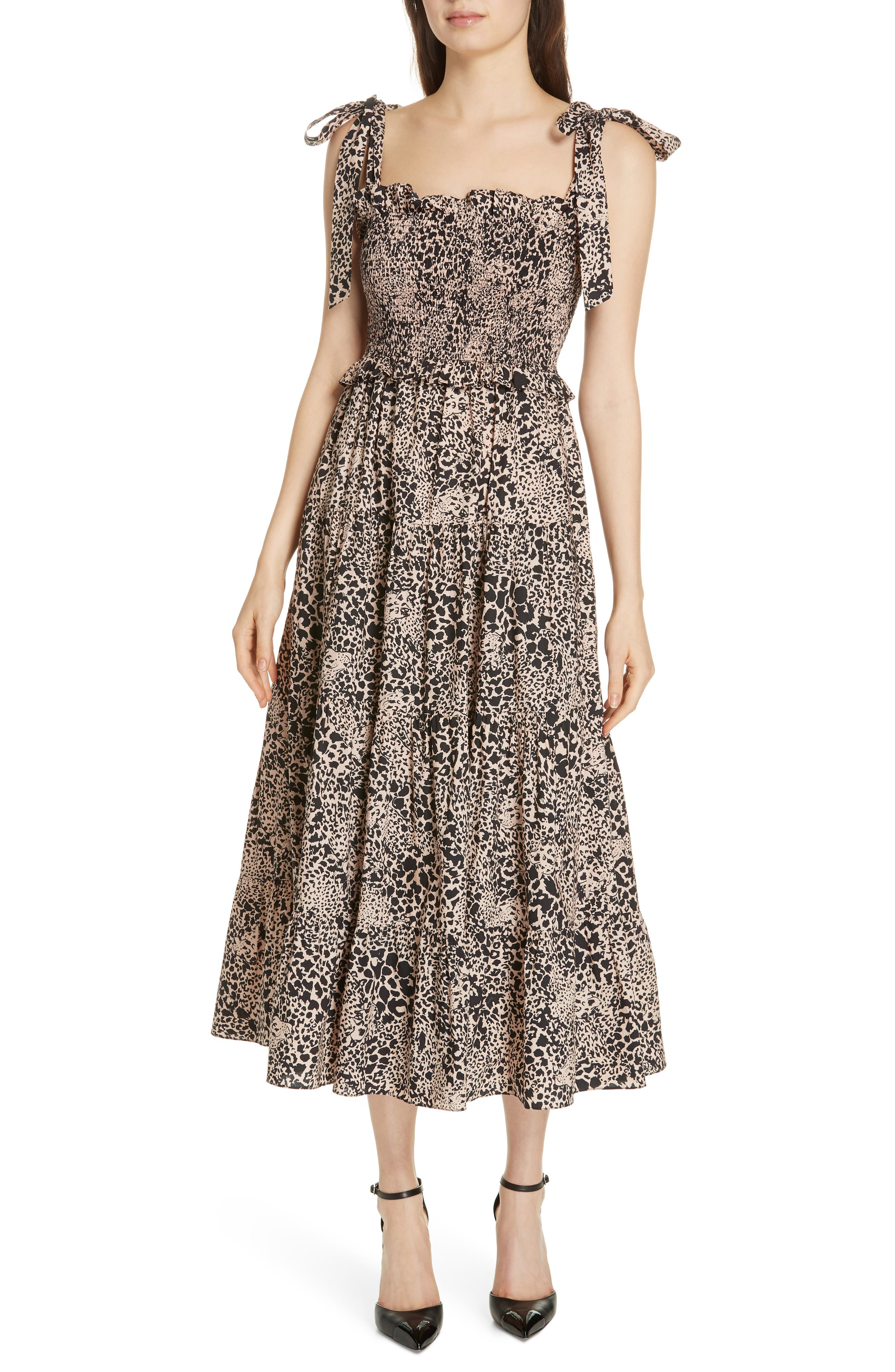 Leopard Print Smocked Dress,                             Main thumbnail 1, color,                             CHAMPAGNE COMBO