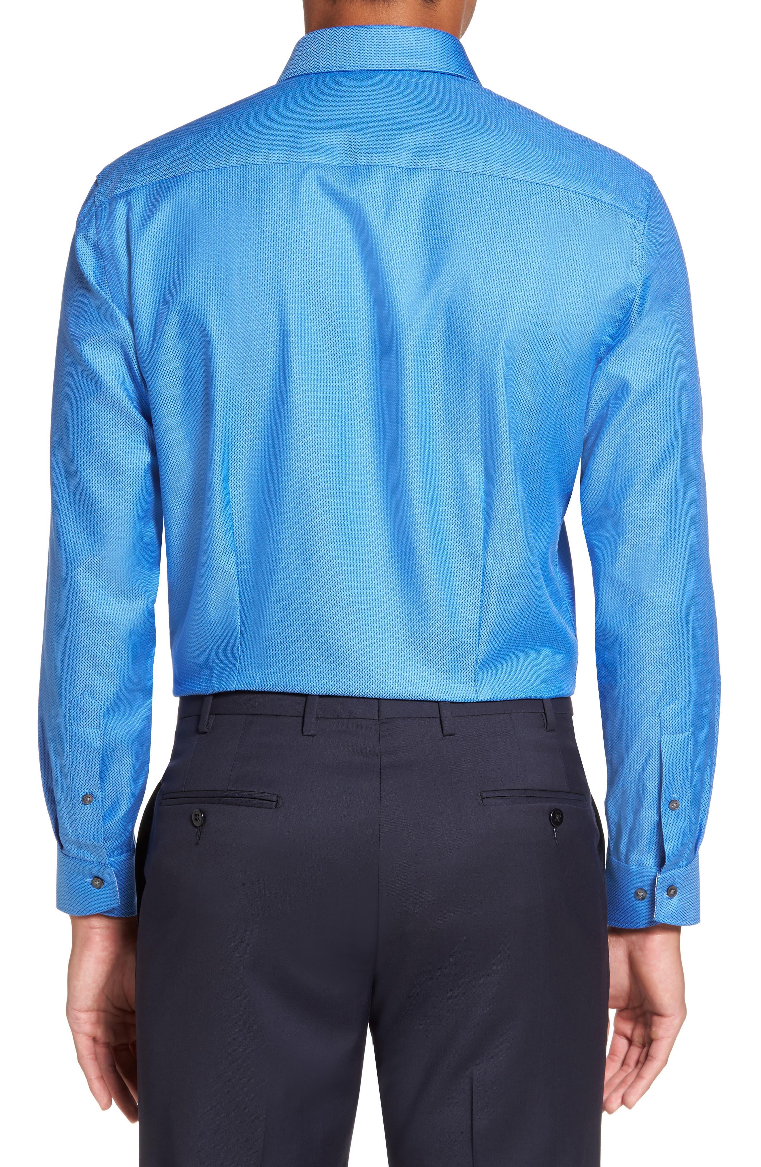 Endurance Trim Fit Geometric Dress Shirt,                             Alternate thumbnail 4, color,