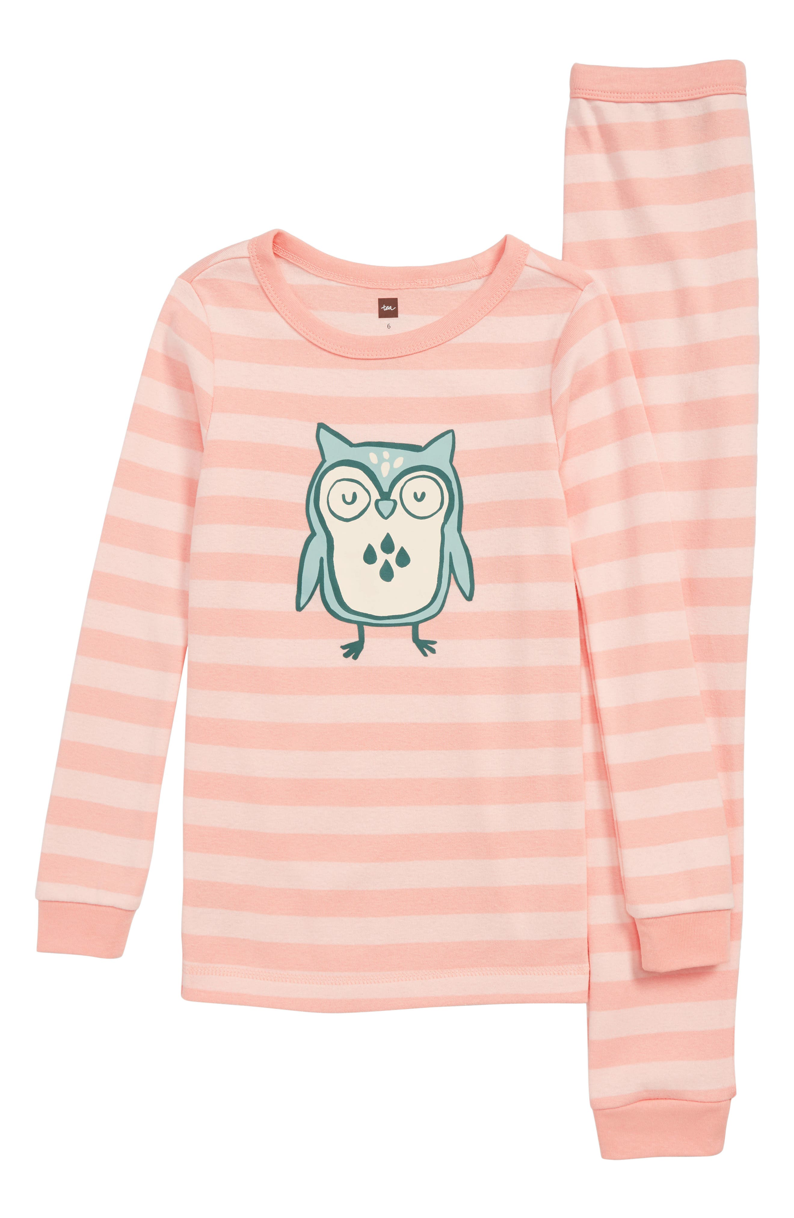 TEA COLLECTION Wise Owl Fitted Two-Piece Pajamas, Main, color, 690