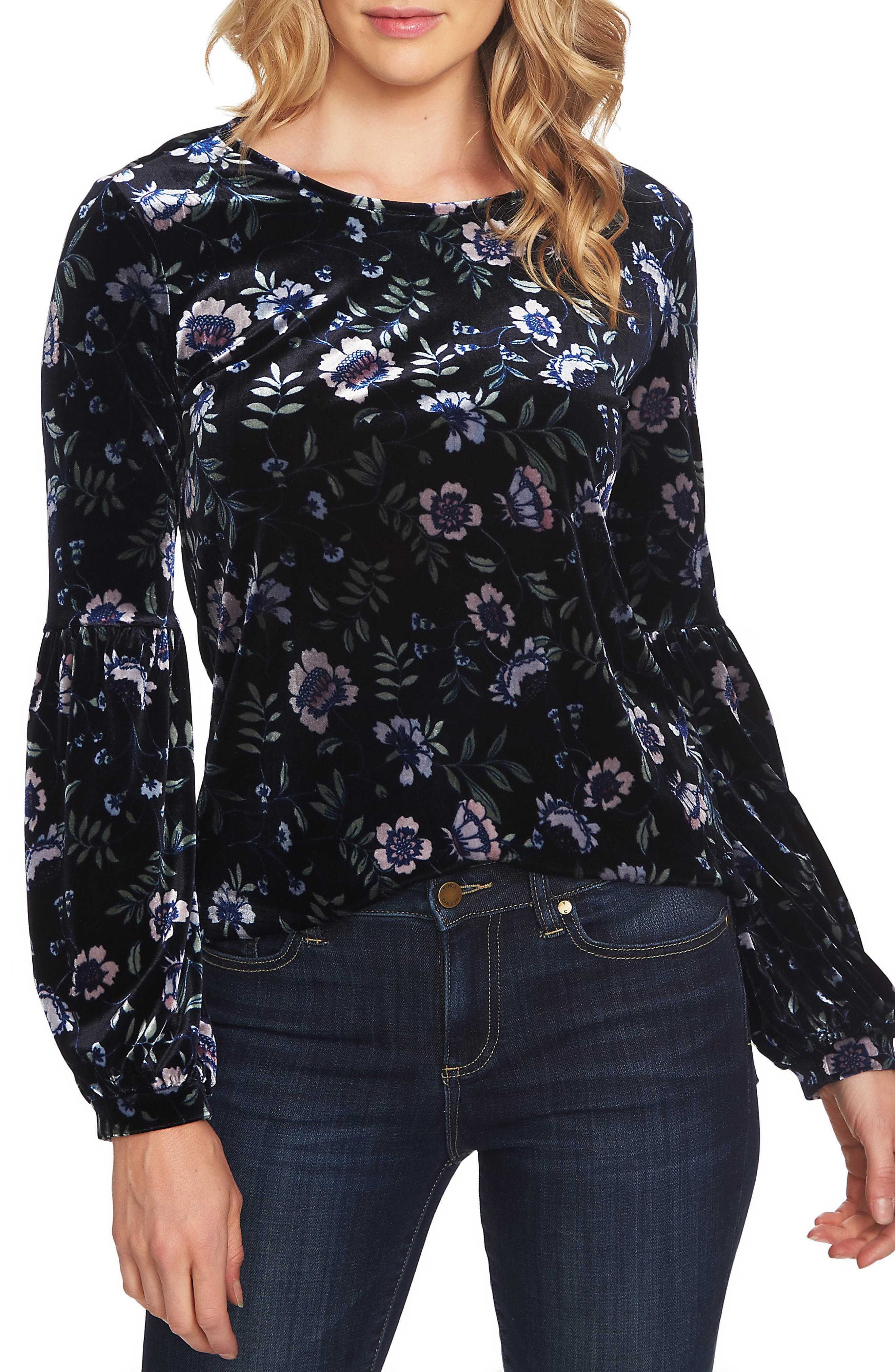 Bloomsbury Floral Puff Sleeve Stretch Velvet Blouse, Main, color, 400