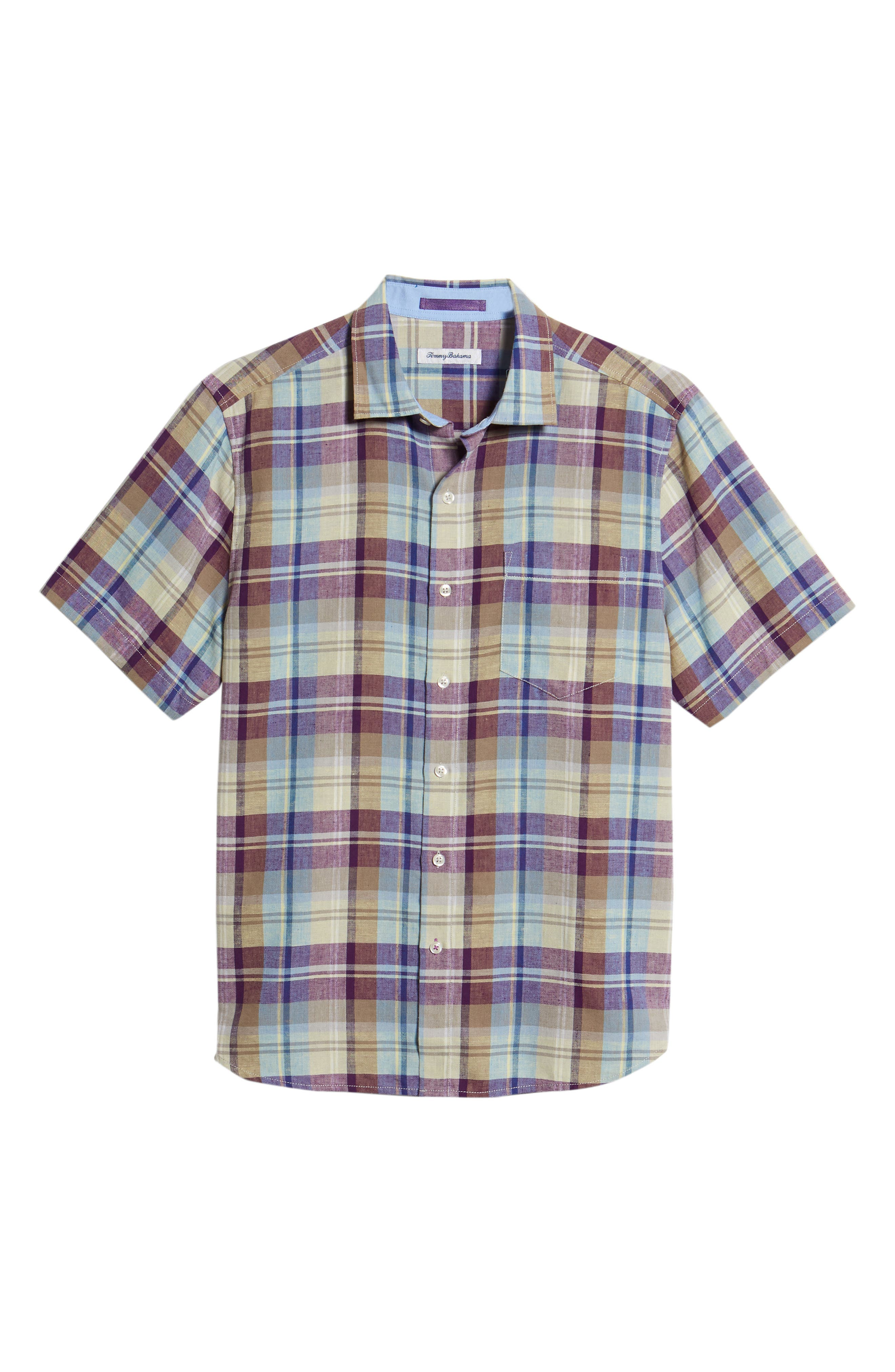 La Paz Plaid Linen Blend Sport Shirt,                             Alternate thumbnail 6, color,                             500