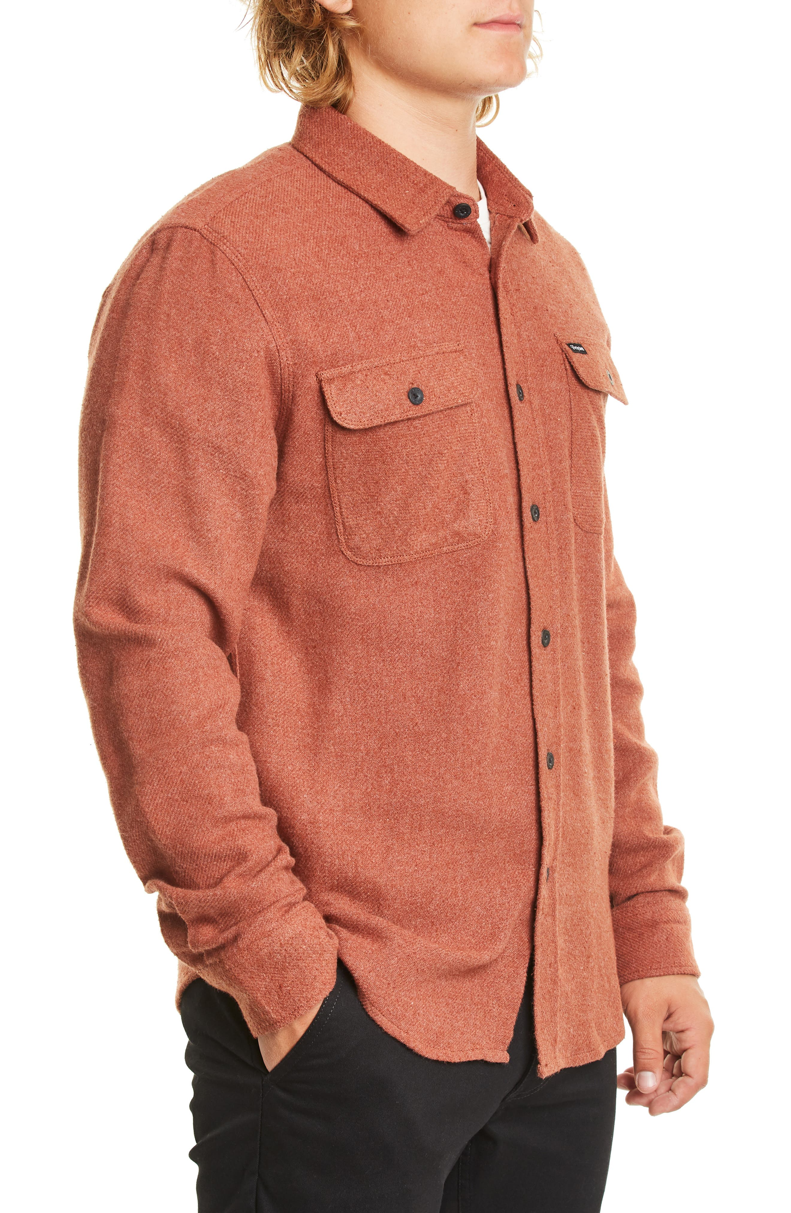 BRIXTON,                             Bowery Twill Work Shirt,                             Alternate thumbnail 3, color,                             CLAY