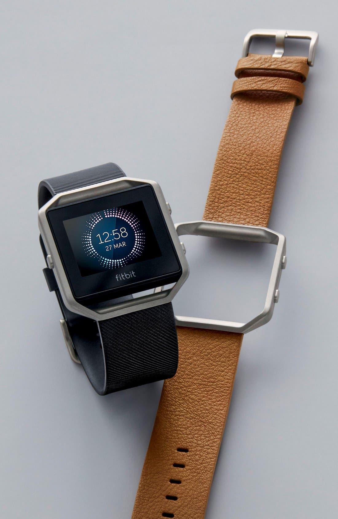 Blaze Leather Smart Watch Band,                             Alternate thumbnail 4, color,                             250