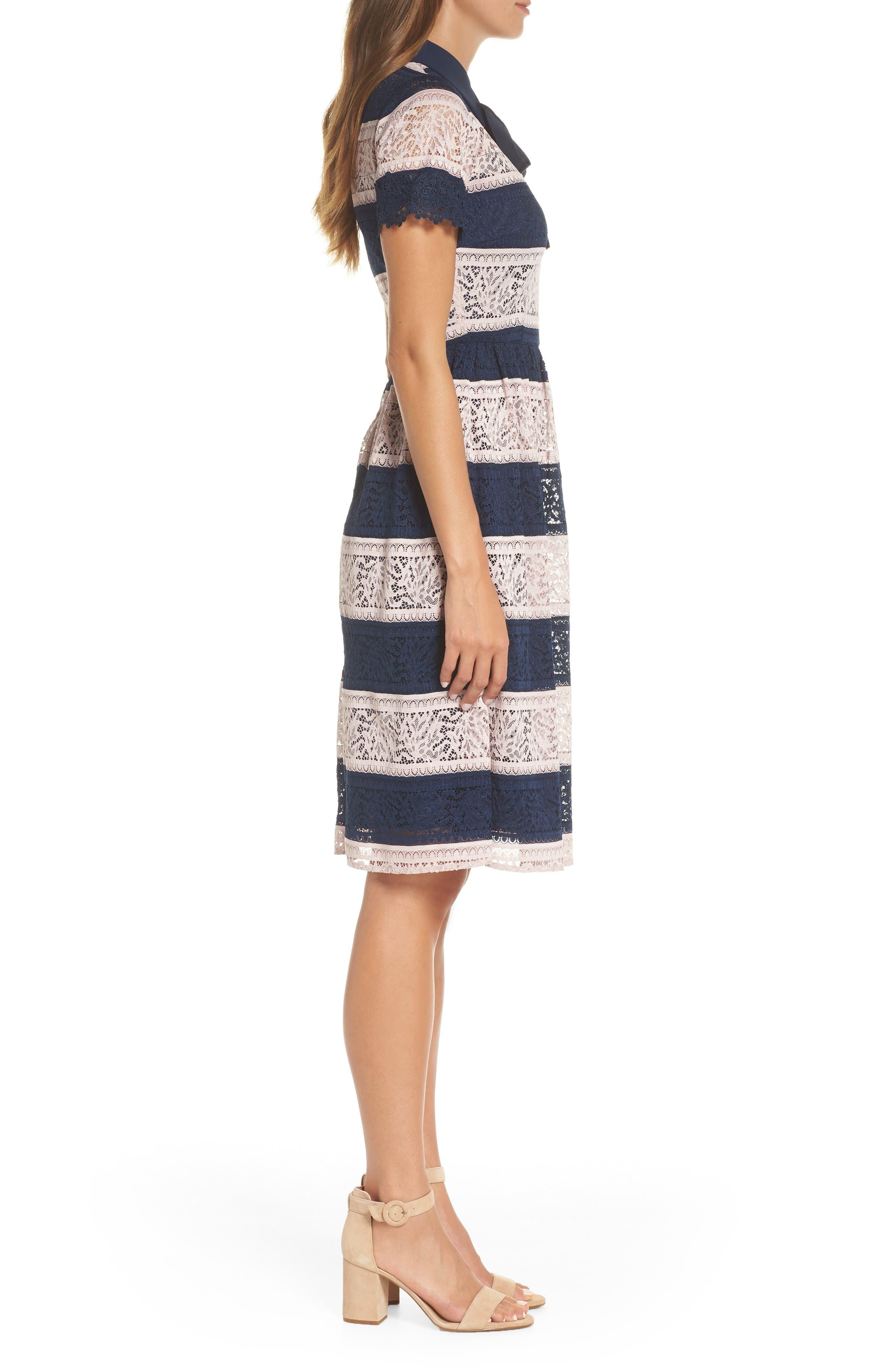 Stripe Lace Fit & Flare Dress,                             Alternate thumbnail 3, color,                             410