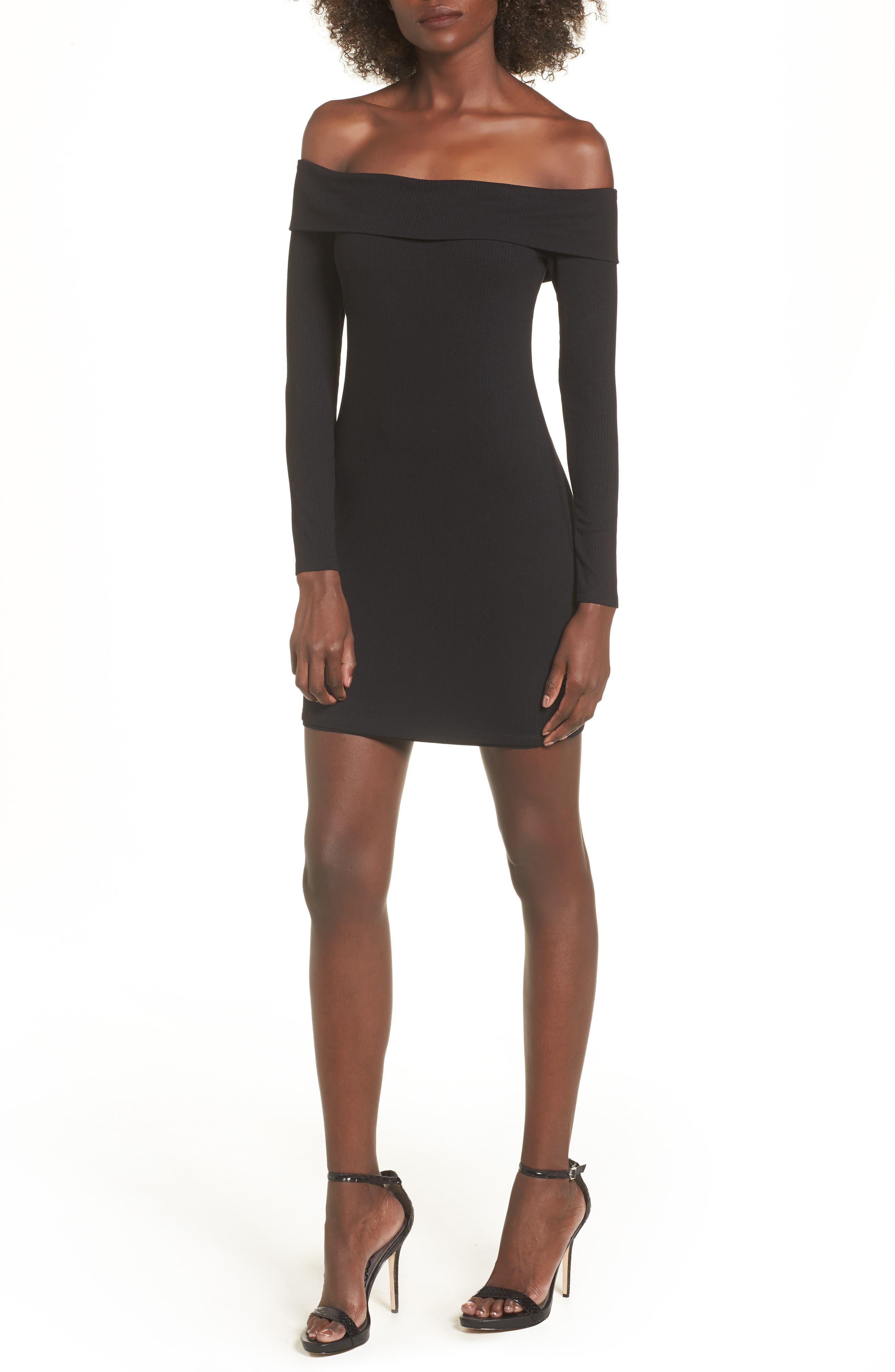 Silas Off the Shoulder Body-Con Dress,                             Main thumbnail 1, color,