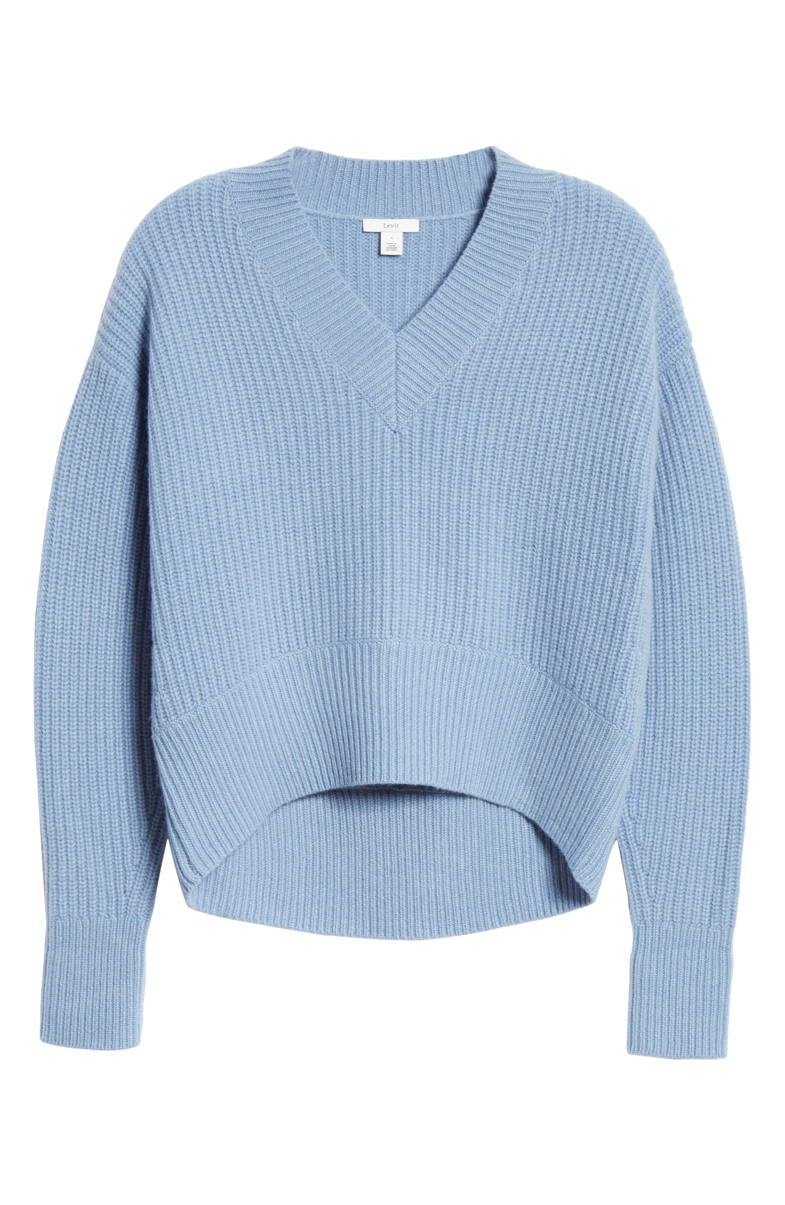 V-Neck Wool & Cashmere Sweater,                             Alternate thumbnail 6, color,                             BLUE COLONY