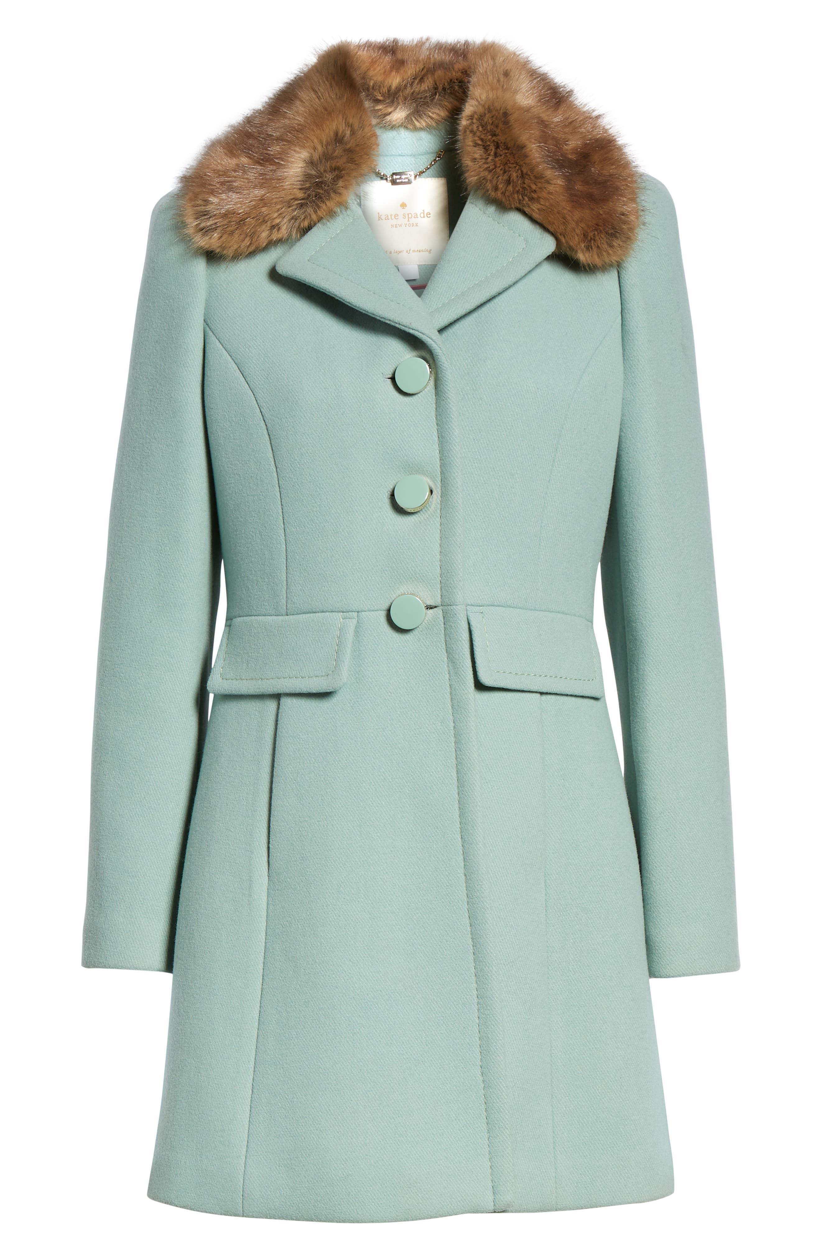faux fur collar wool blend coat,                             Alternate thumbnail 6, color,                             300