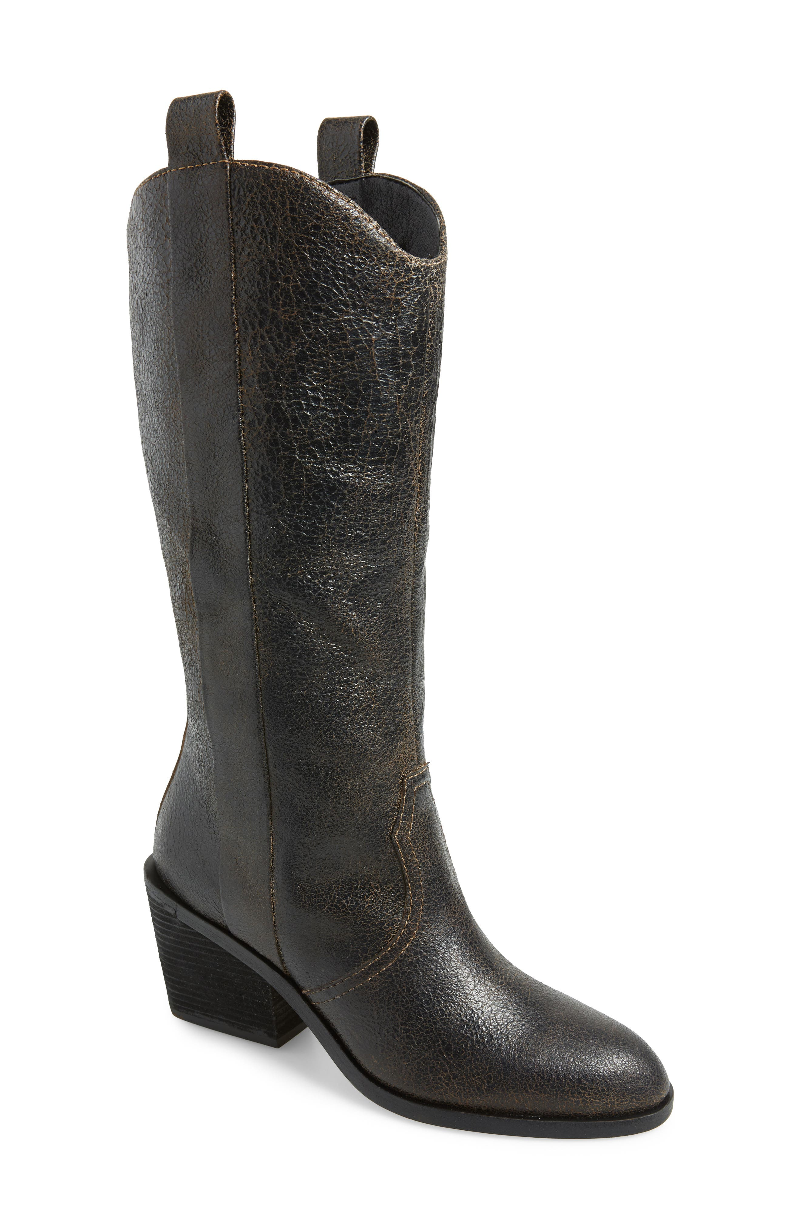 Riot Western Boot,                             Main thumbnail 1, color,                             BLACK VINTAGE LEATHER