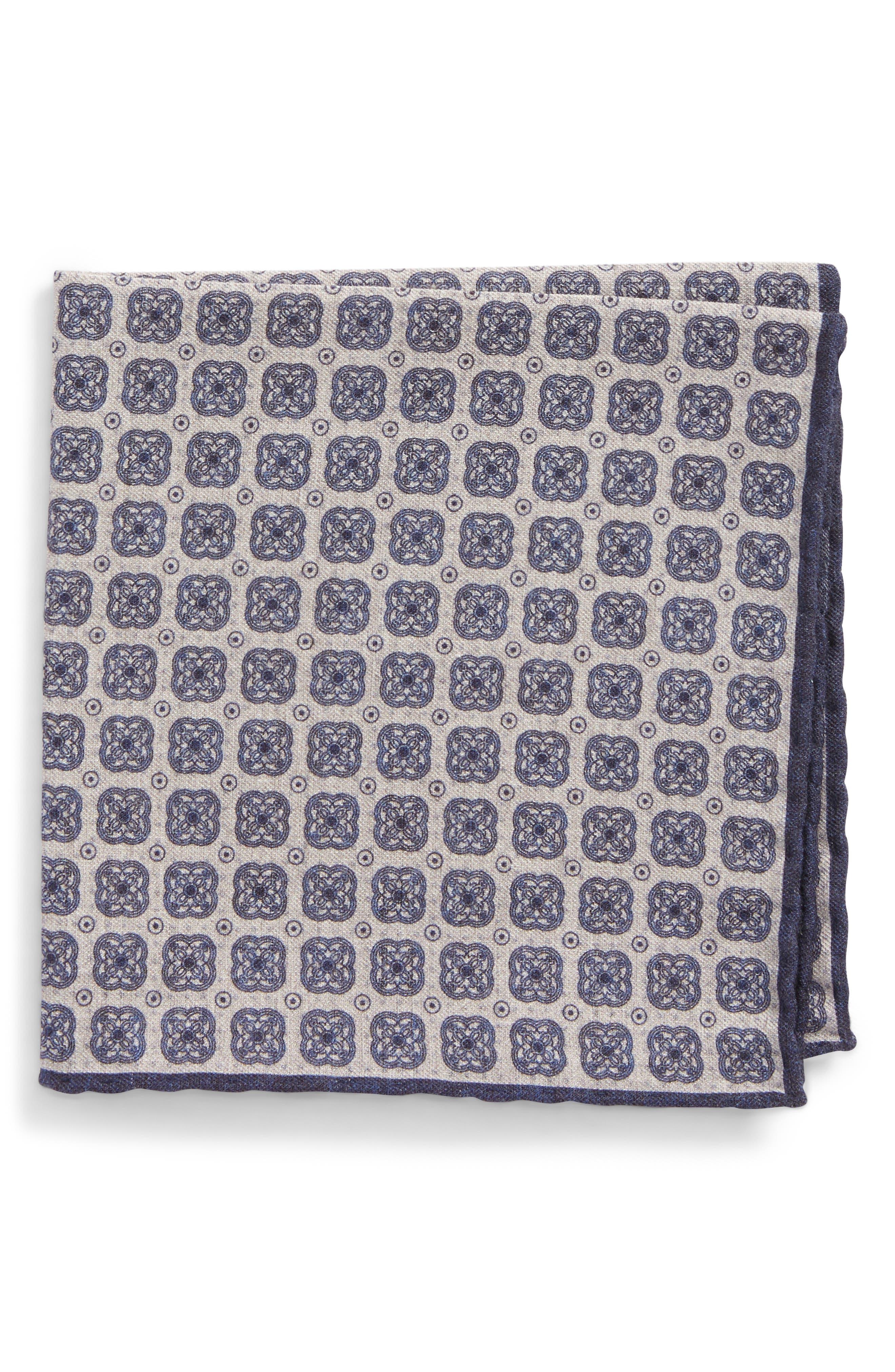 Medallion Wool & Cotton Pocket Square,                         Main,                         color, 021