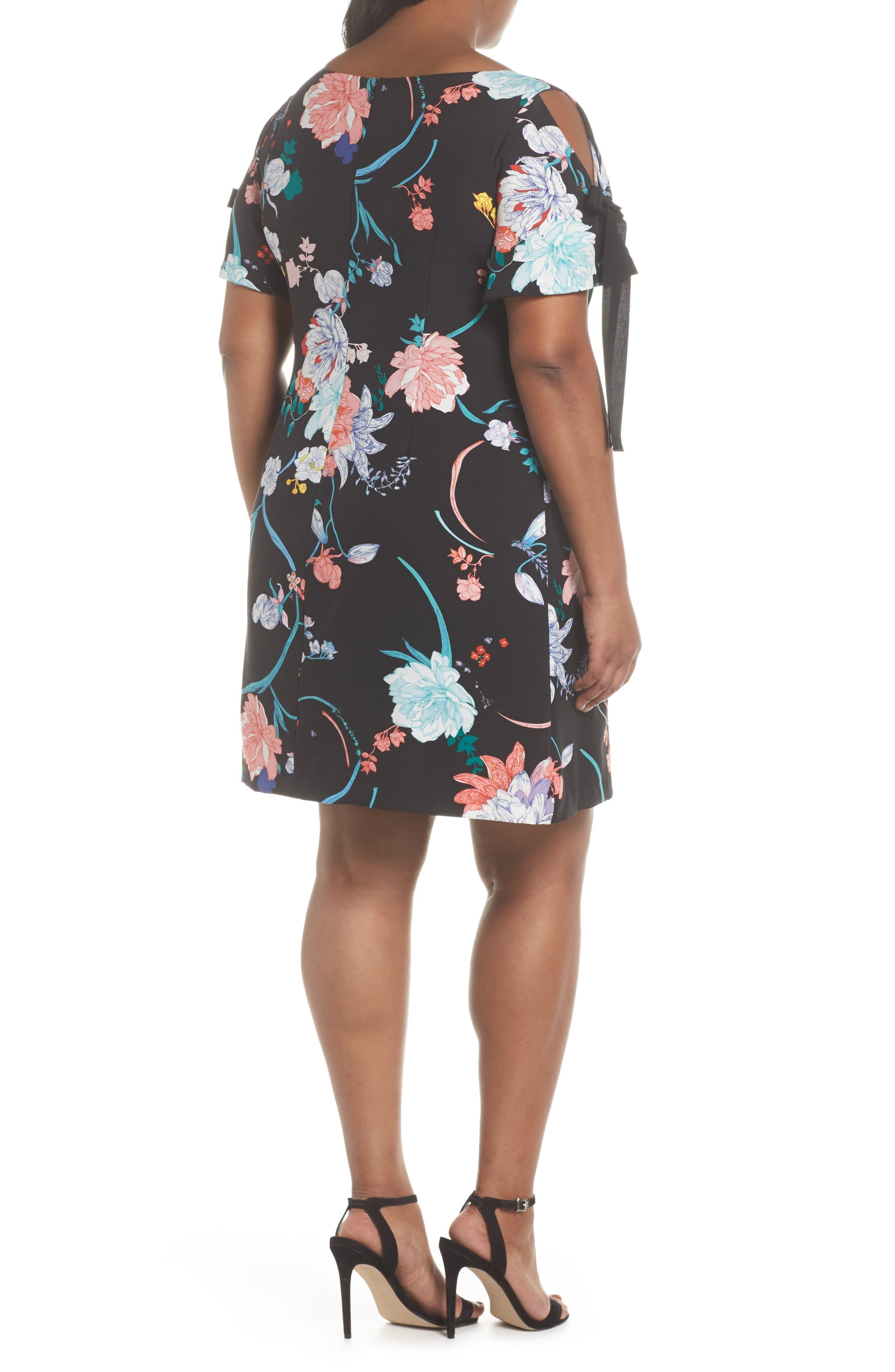 Zen Blosson Shift Dress,                             Alternate thumbnail 2, color,                             BLACK MULTI