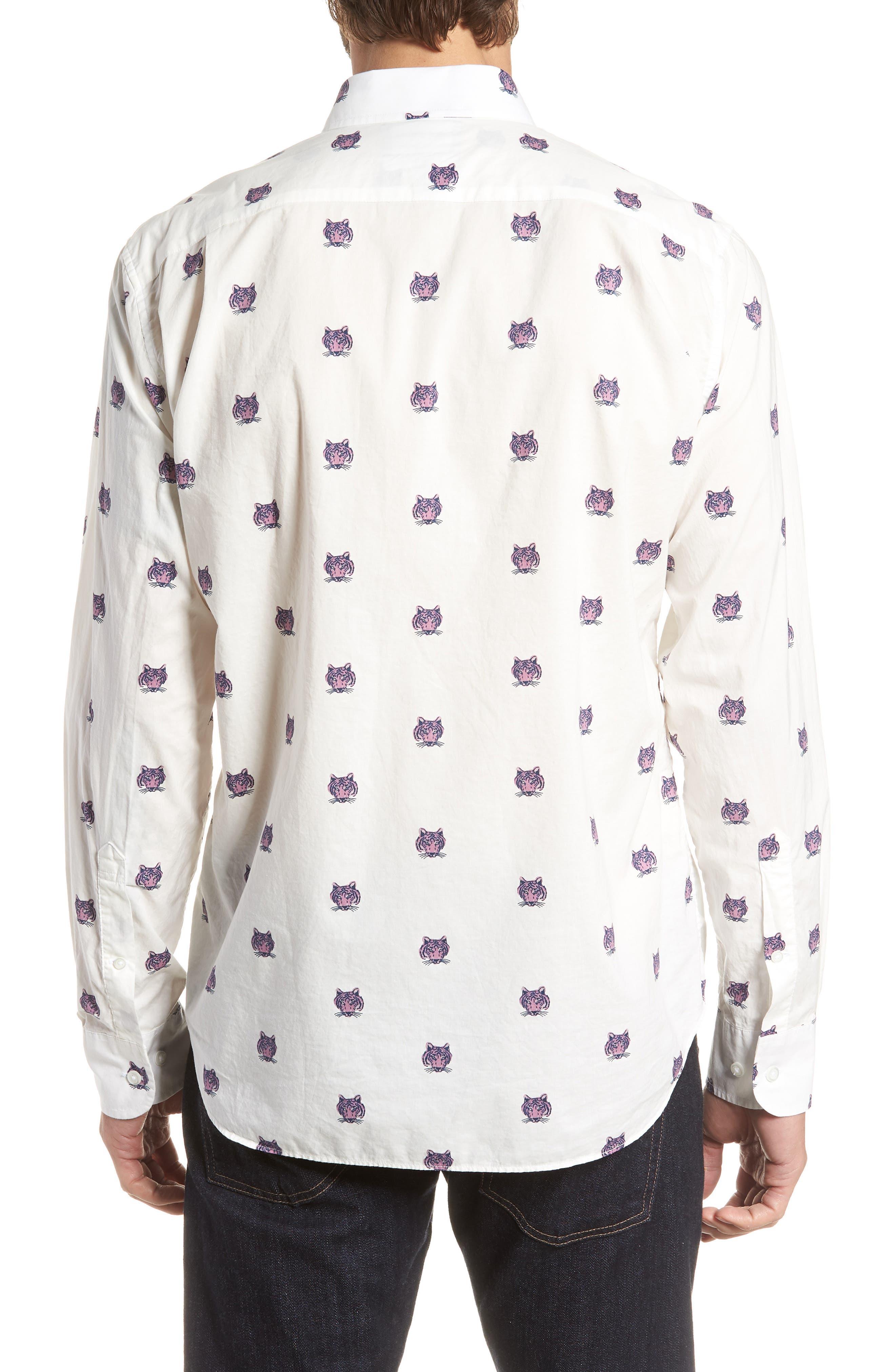 Summerweight Slim Fit Tiger Print Sport Shirt,                             Alternate thumbnail 2, color,                             100