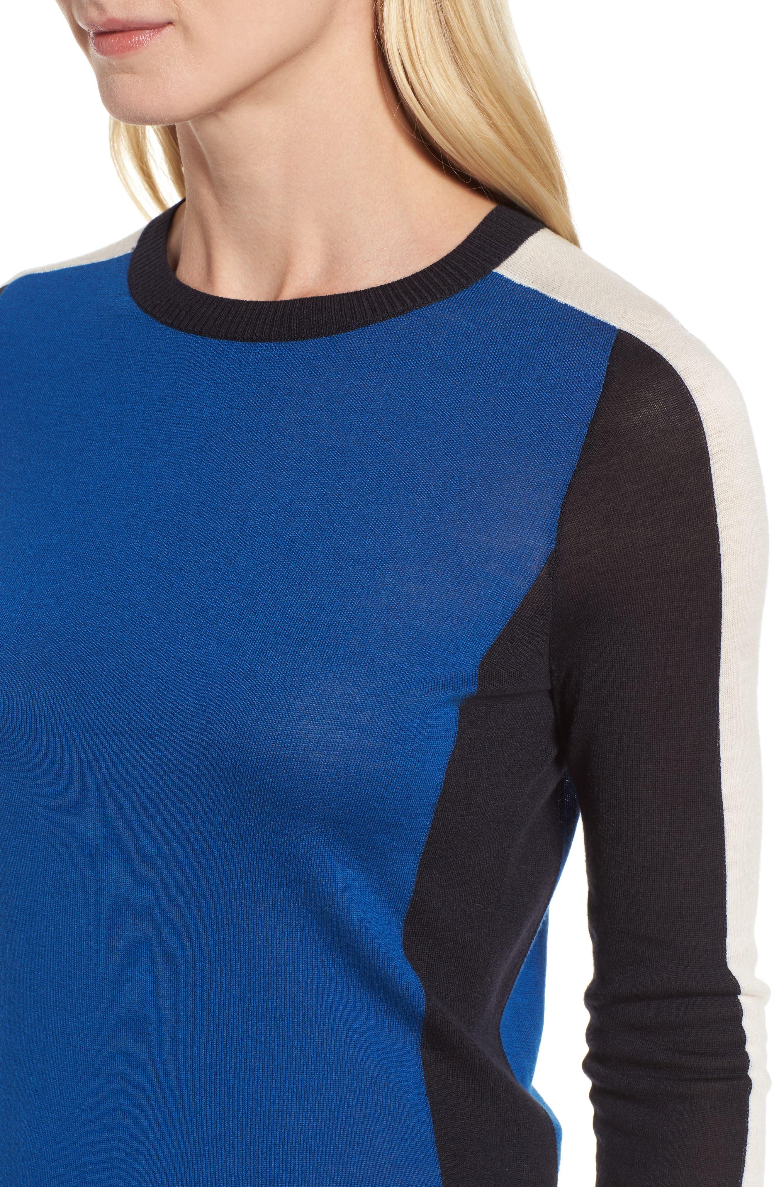 Ferda Colorblock Wool Sweater,                             Alternate thumbnail 4, color,                             471