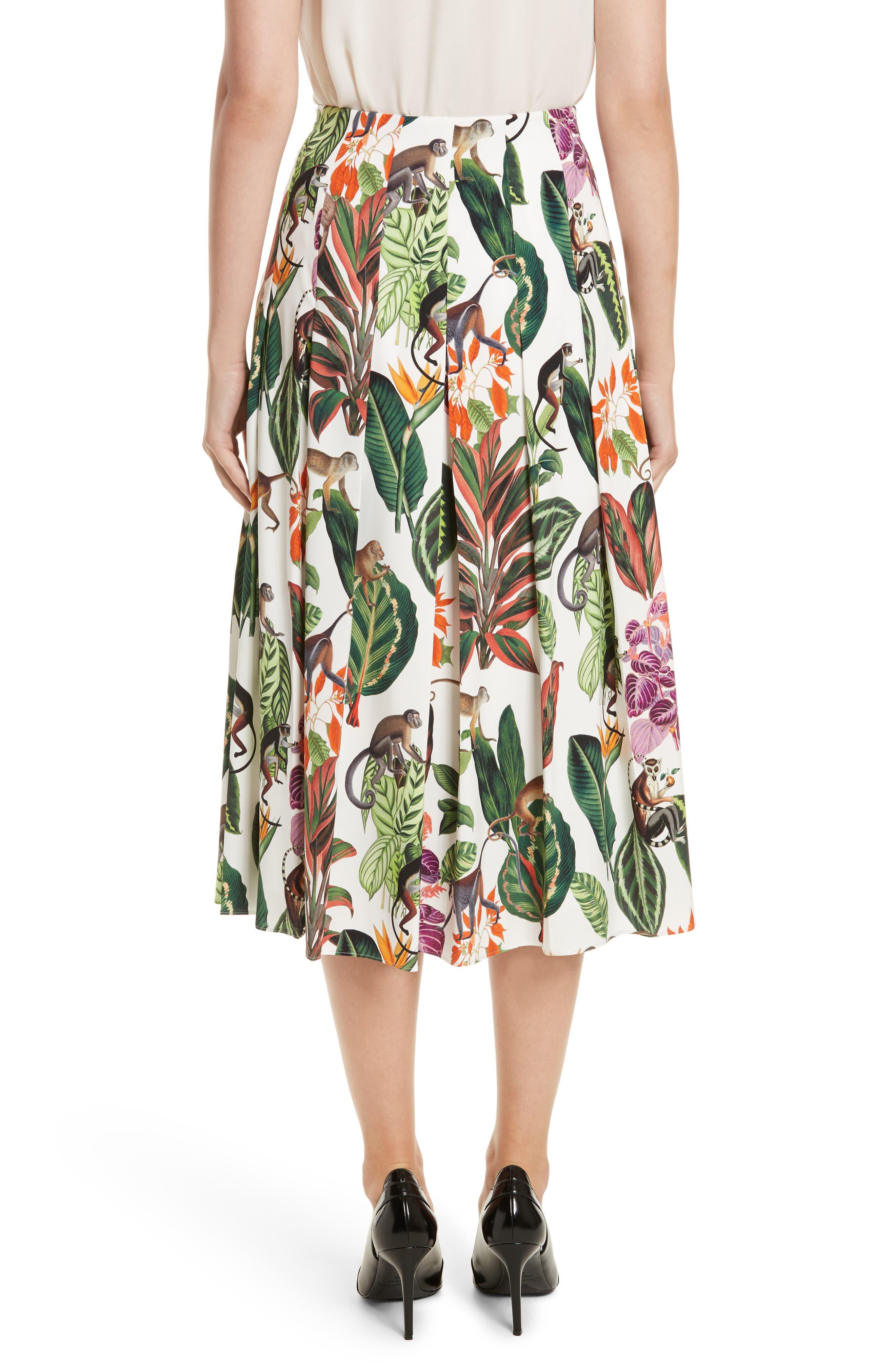 Jungle Print Pleated Stretch Silk Skirt,                             Alternate thumbnail 2, color,                             300