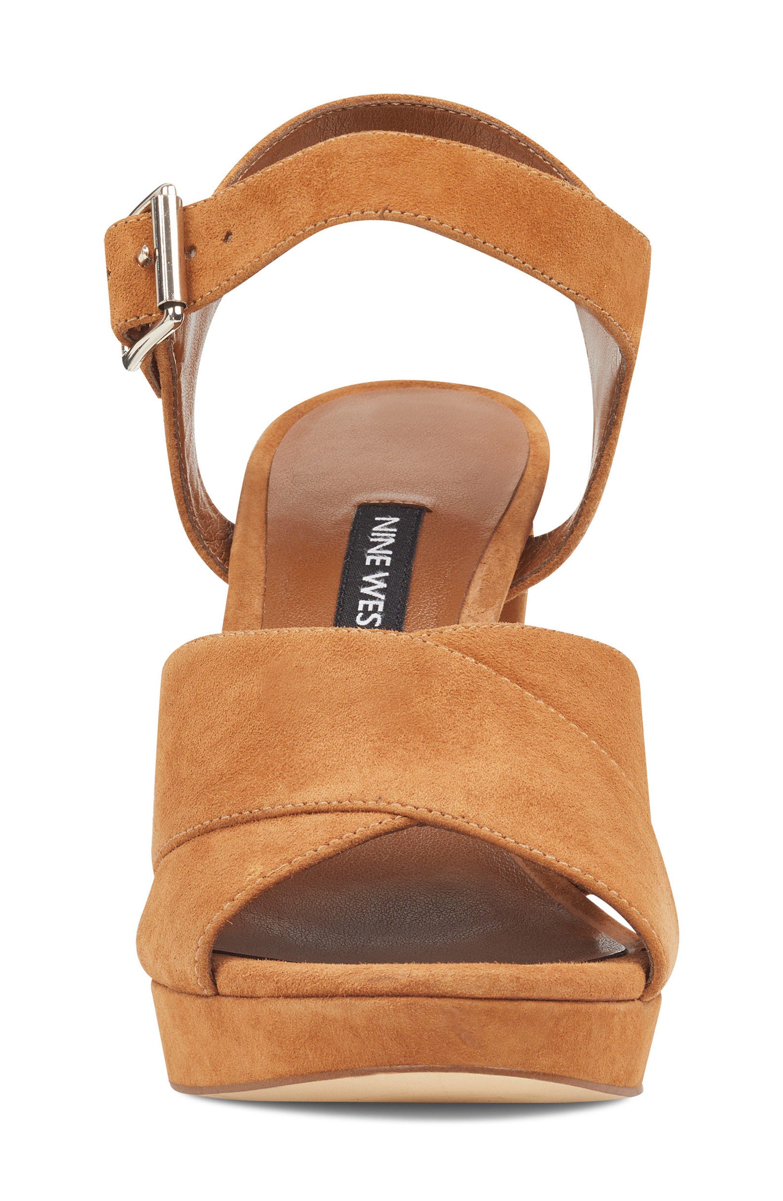 Jimar Platform Sandal,                             Alternate thumbnail 4, color,                             DARK NATURAL SUEDE