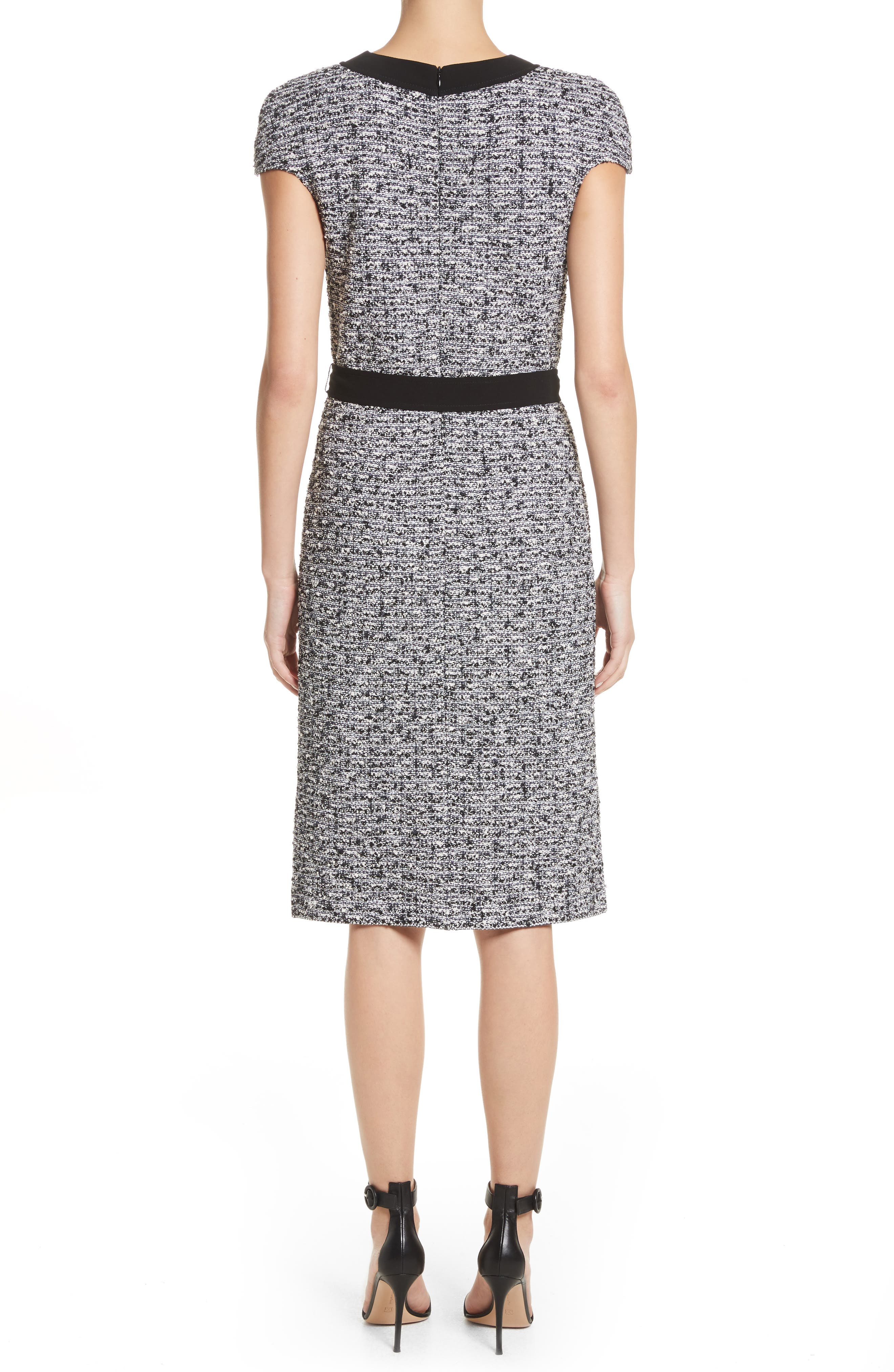 Micro Tweed Belted Dress,                             Alternate thumbnail 2, color,                             001