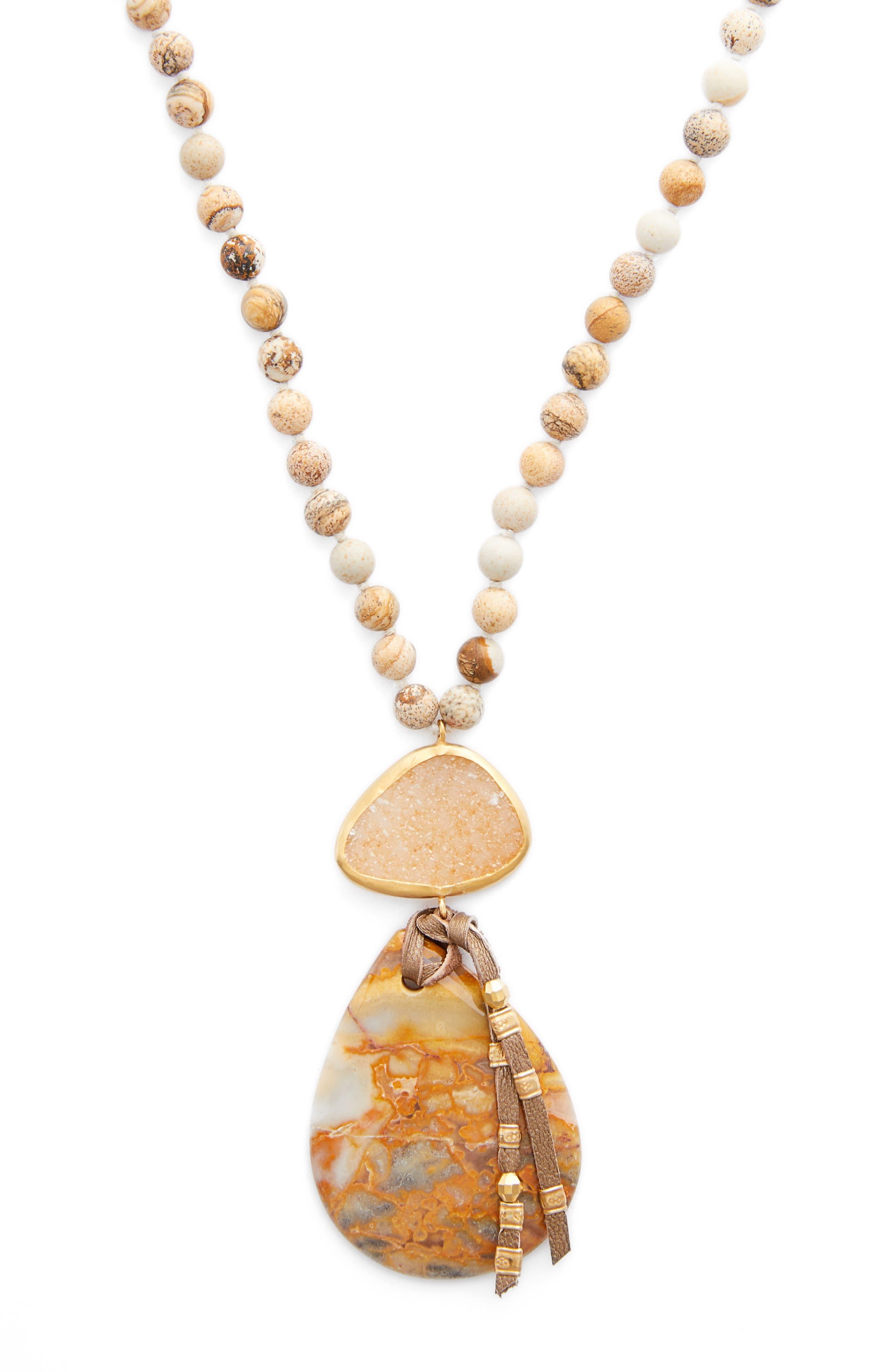 CHAN LUU,                             Long Matte Picture Jasper Pendant Necklace,                             Alternate thumbnail 2, color,                             300