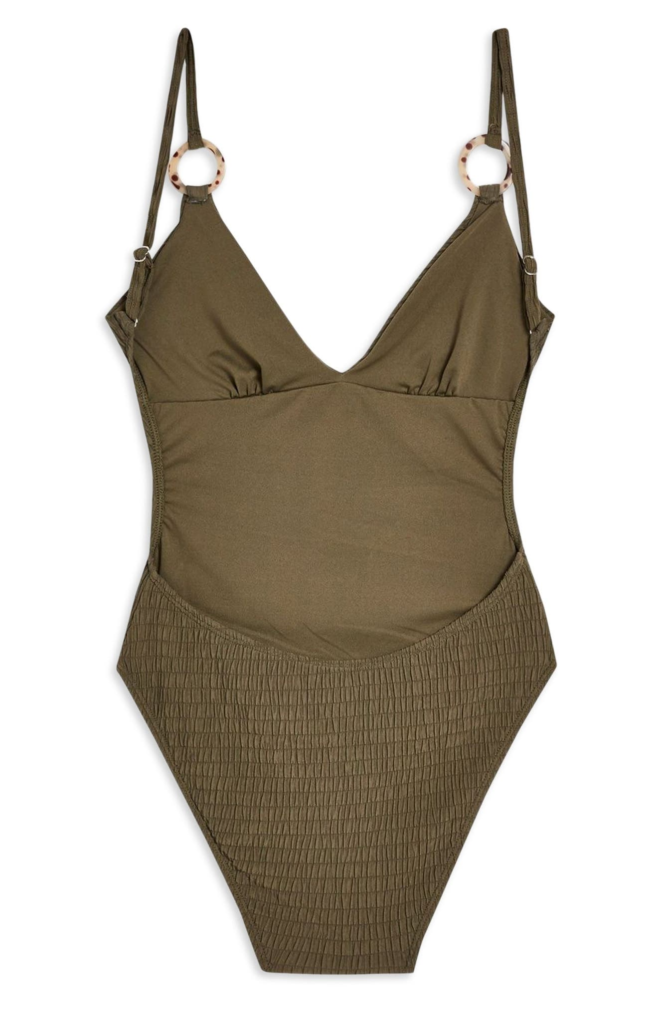 Plunge One-Piece Swimsuit,                             Alternate thumbnail 4, color,                             OLIVE