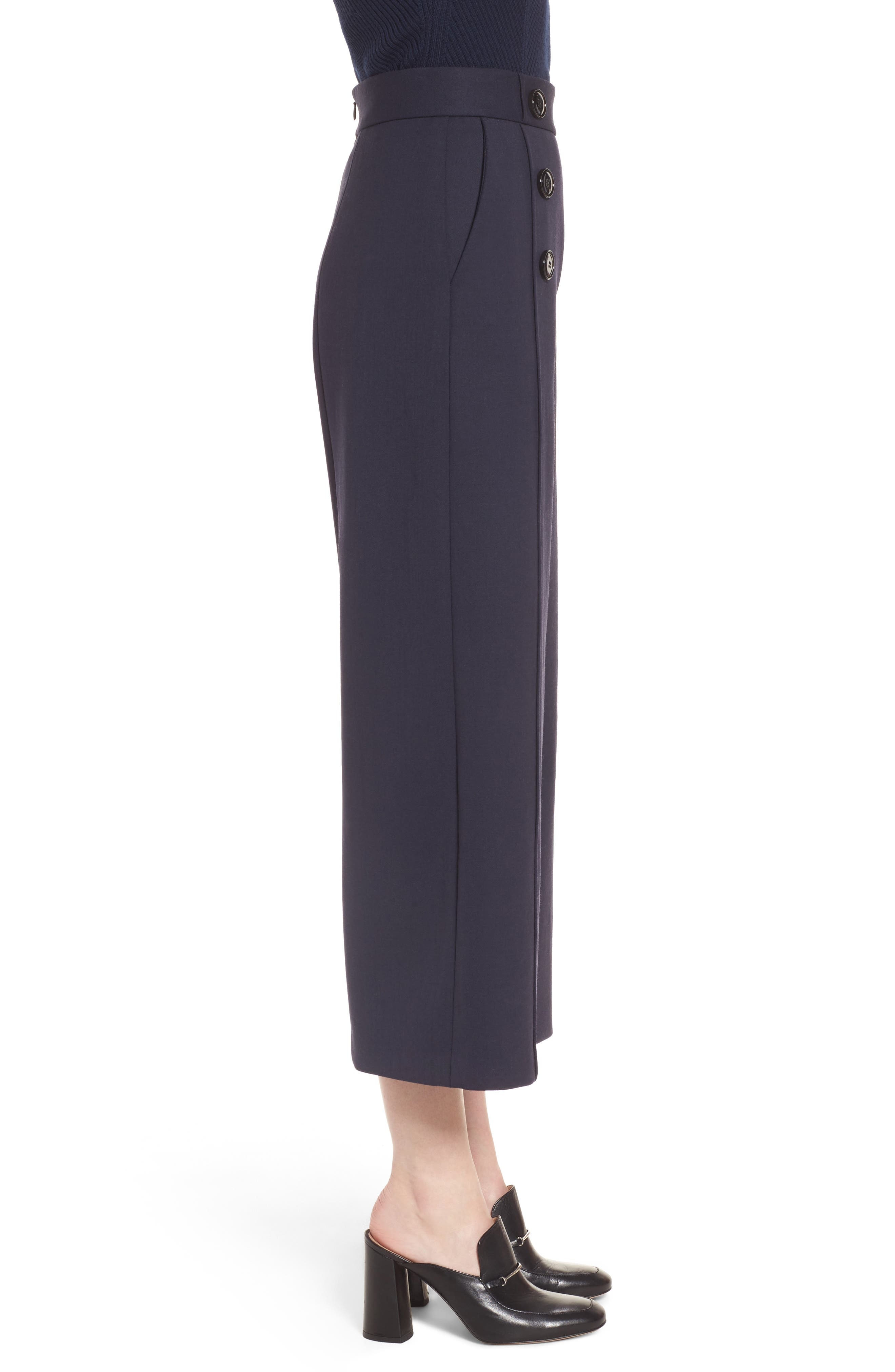 Button Detail Wide Leg Trouser,                             Alternate thumbnail 3, color,                             410