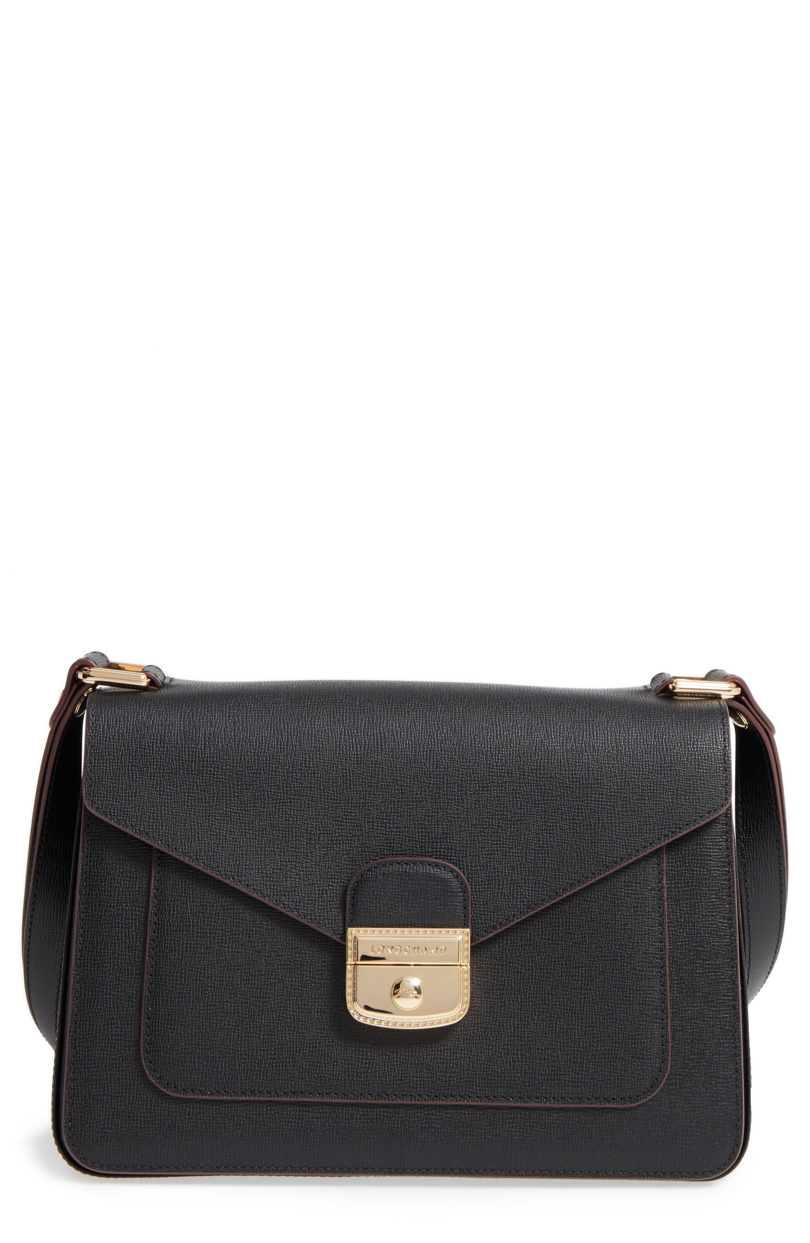 Pliage Heritage Leather Shoulder Bag,                         Main,                         color, BLACK