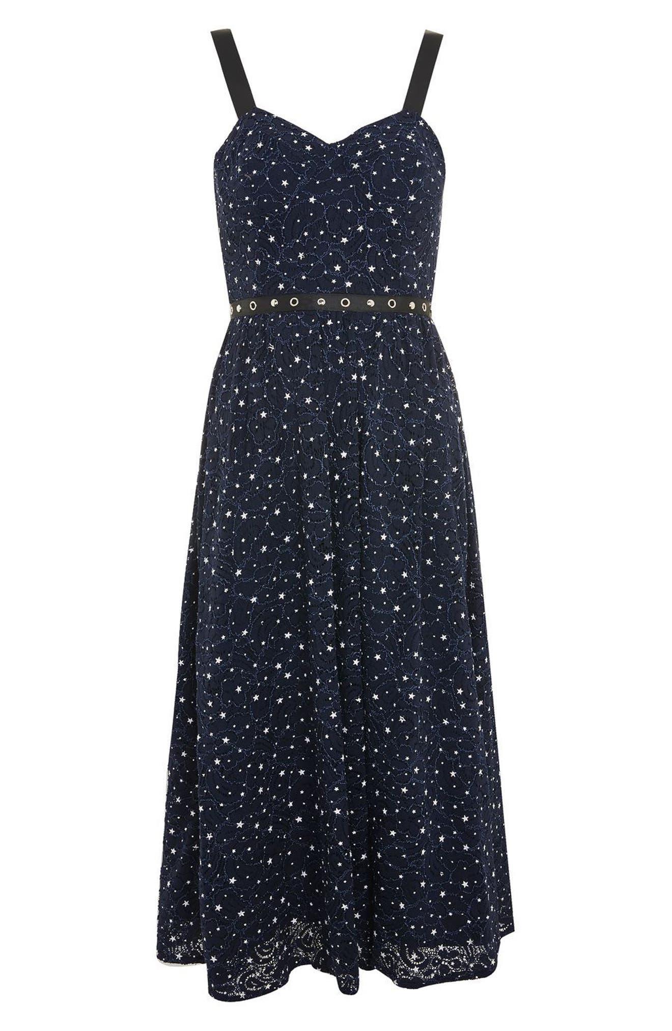 Star Lace Bustier Midi Dress,                             Alternate thumbnail 3, color,                             410