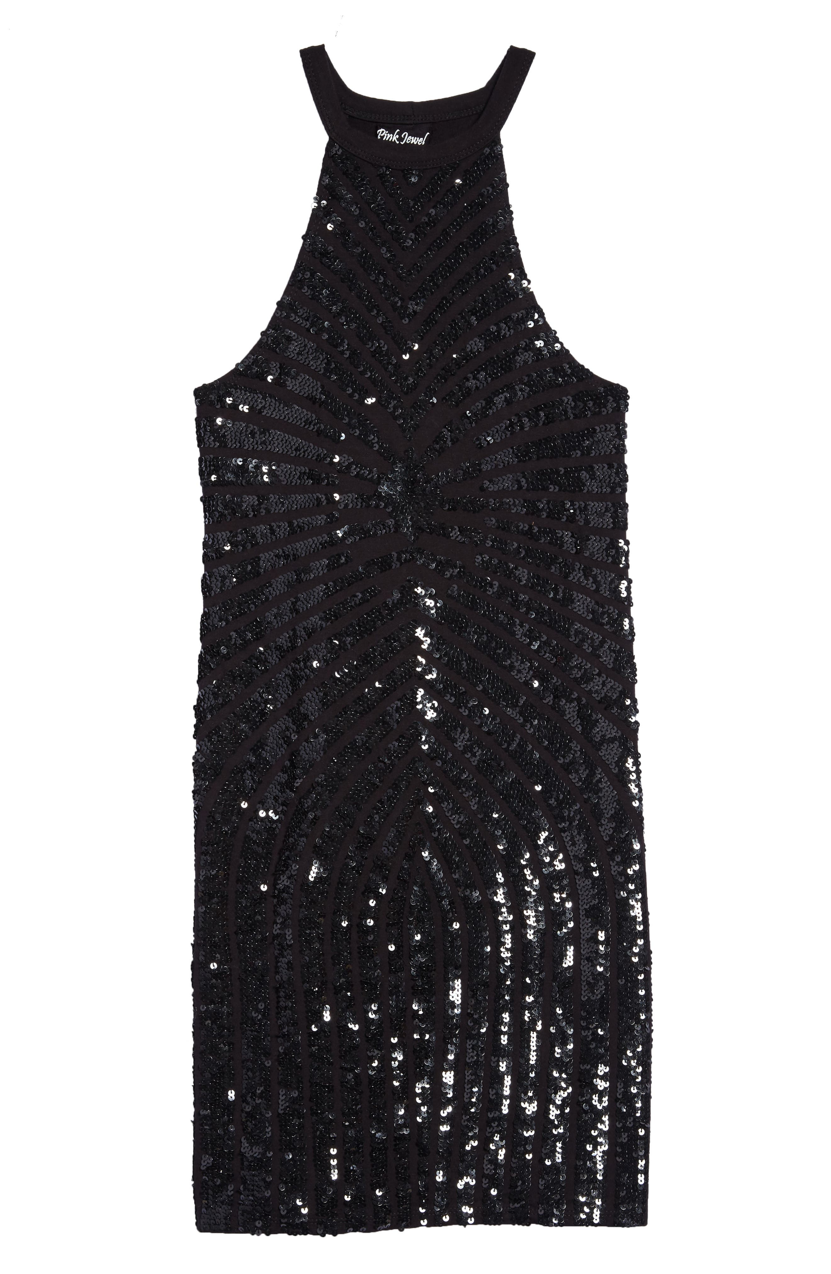 Sequin Stripe Sleeveless Dress,                         Main,                         color, 001