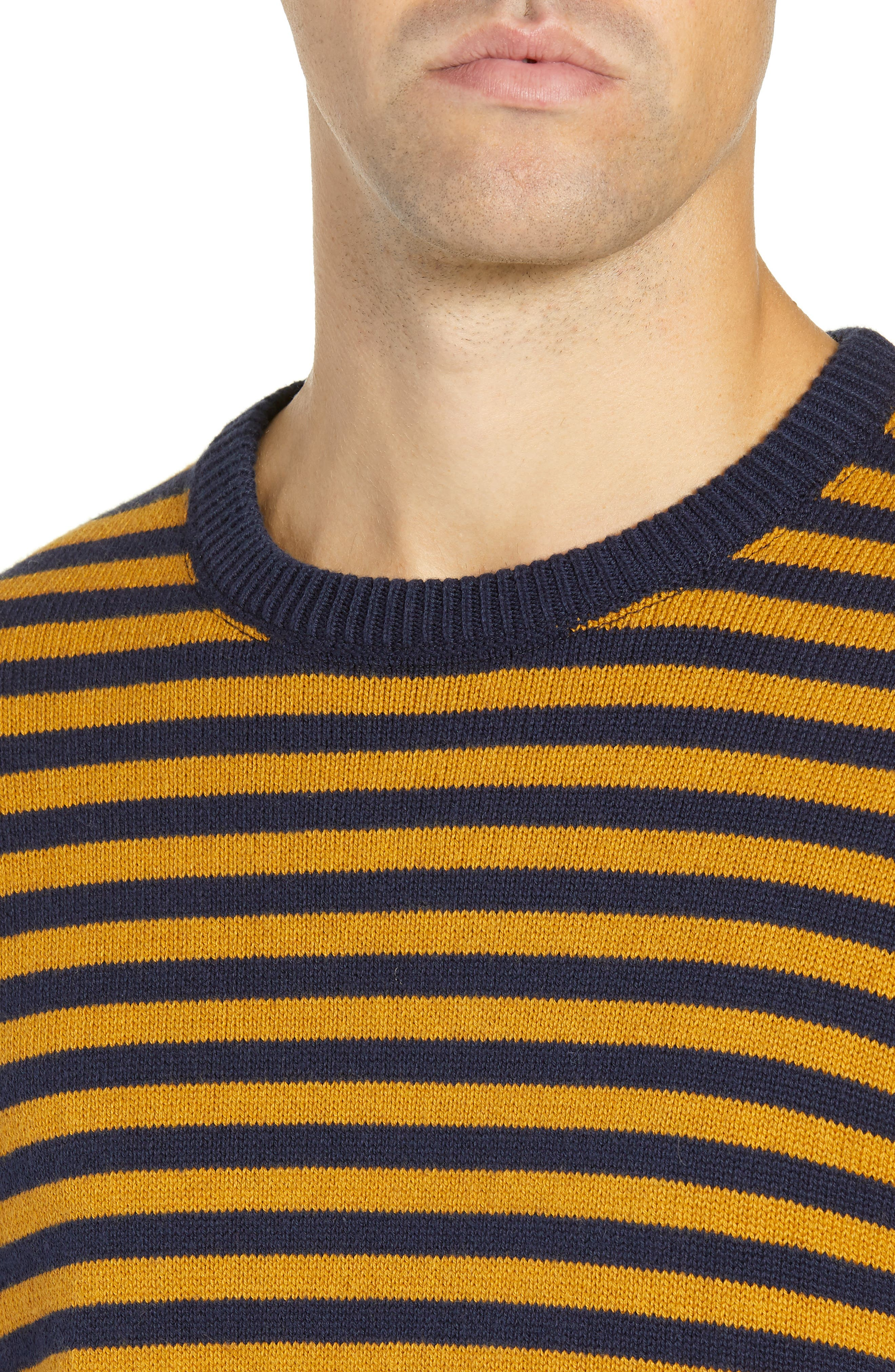 Stripe Cotton & Wool Sweater,                             Alternate thumbnail 4, color,                             CALLUNA YELLOW UTILITY BLUE
