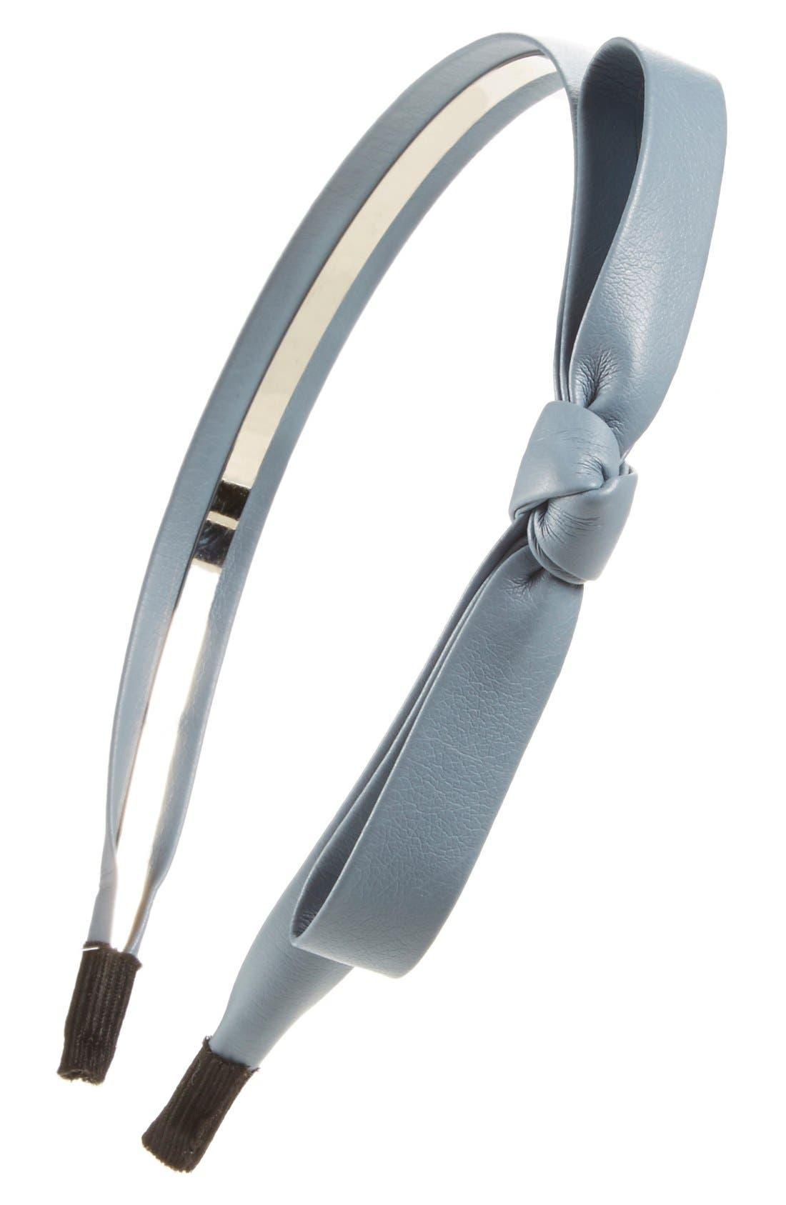 Faux Leather Bow Headband,                             Main thumbnail 3, color,