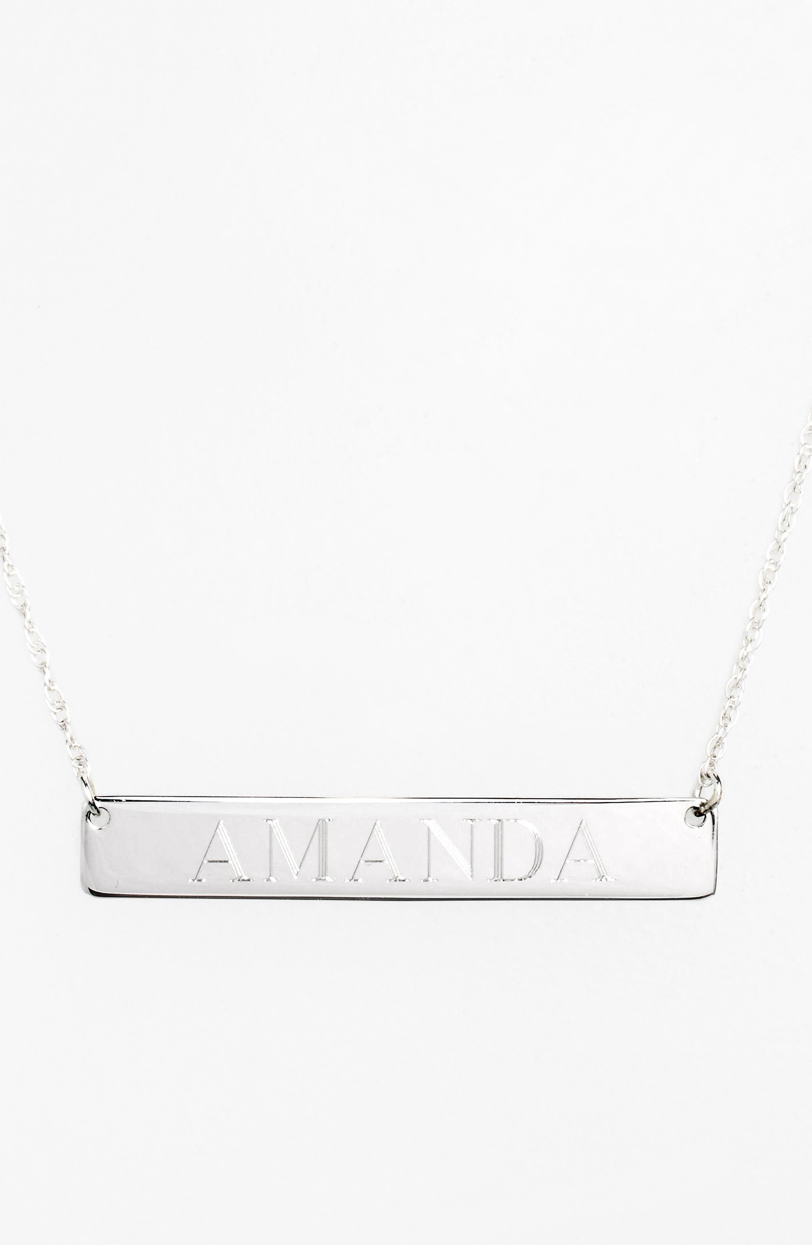 Personalized Bar Pendant Necklace,                             Alternate thumbnail 4, color,                             SILVER