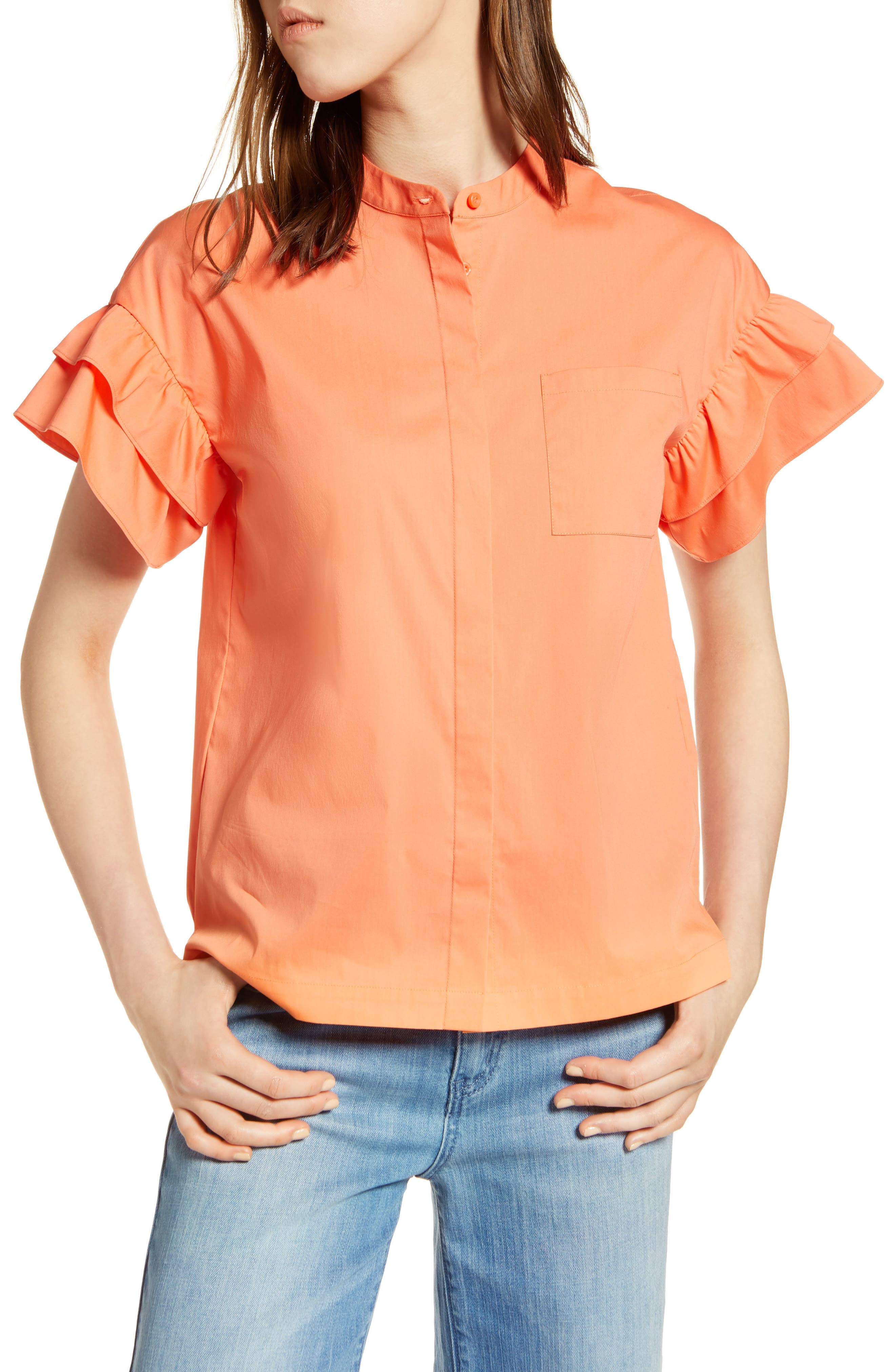 Ruffle Sleeve Stretch Cotton Blend Blouse,                             Main thumbnail 4, color,